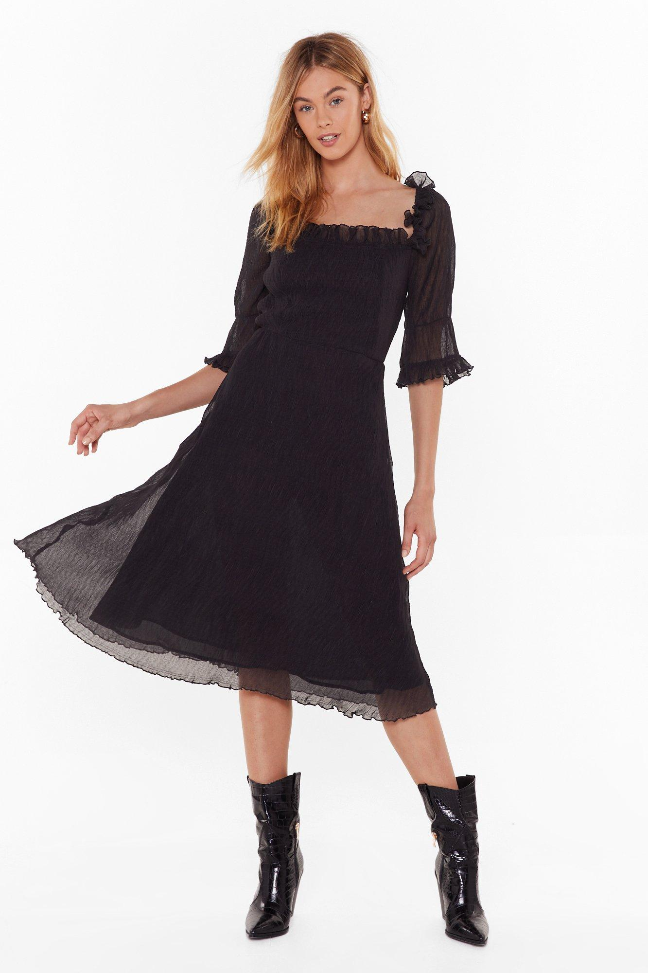 Image of Only Time Frill Tell Puff Sleeve Midi Dress