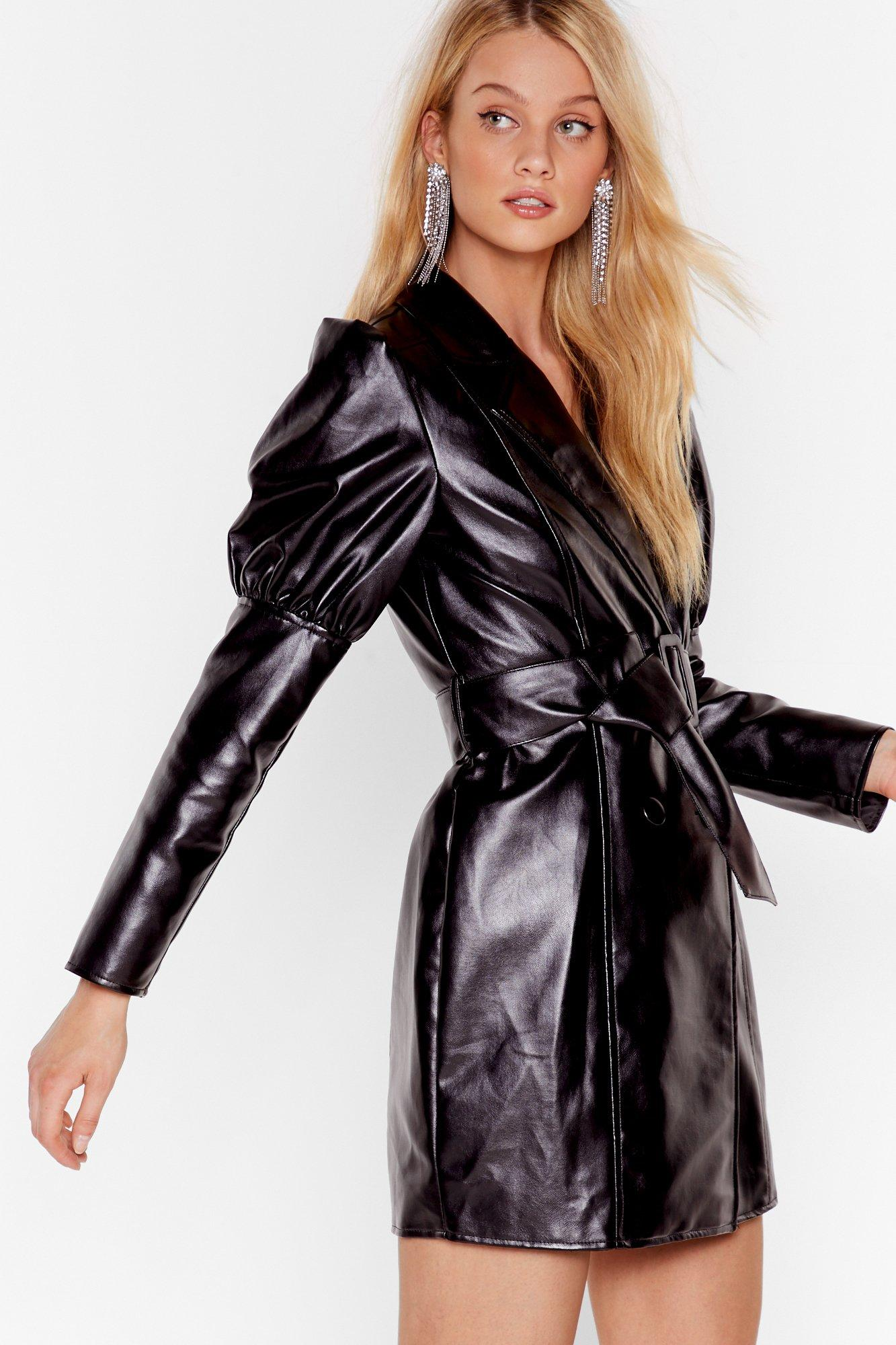 Image of Too Much is Faux Leather Enough Mini Dress
