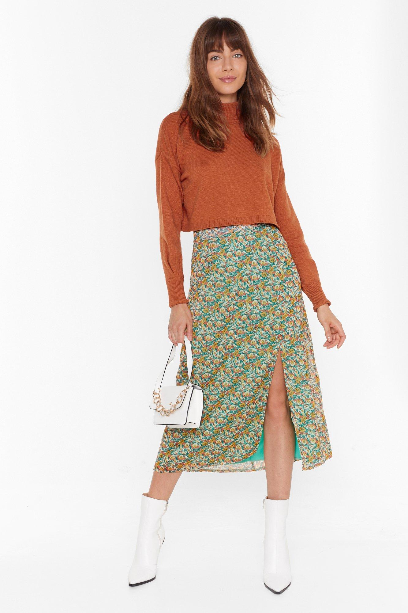 Image of All I Plant is You Floral Midi Skirt