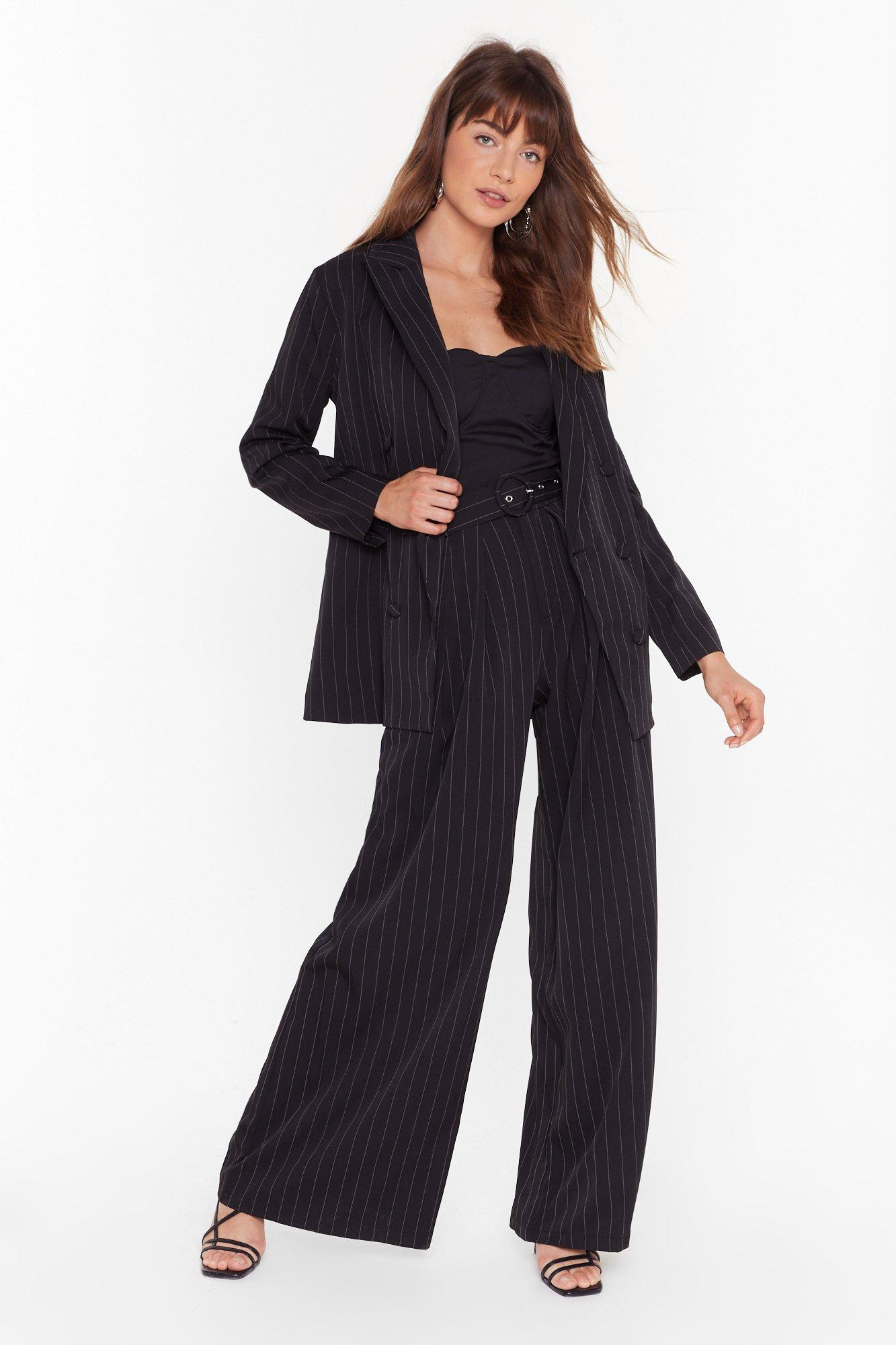 Image of Business is Business Pinstripe Double Breasted Blazer