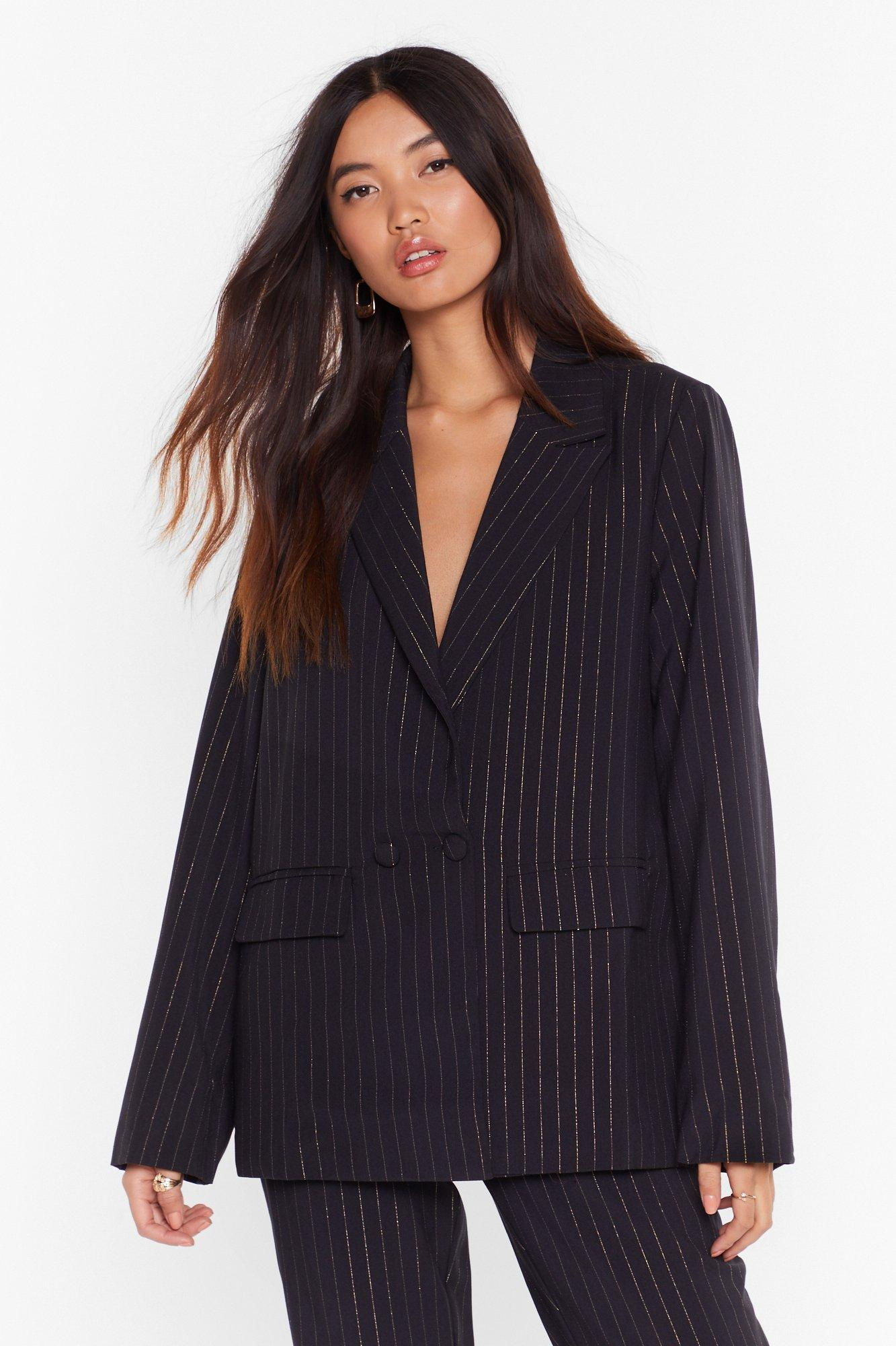 Image of Stripe to the Party Double Breasted Blazer