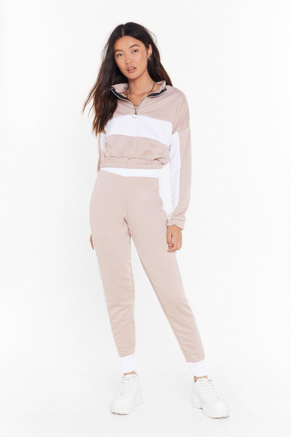 Image of Don't Sweat It Cropped Sweatshirt and Joggers Set