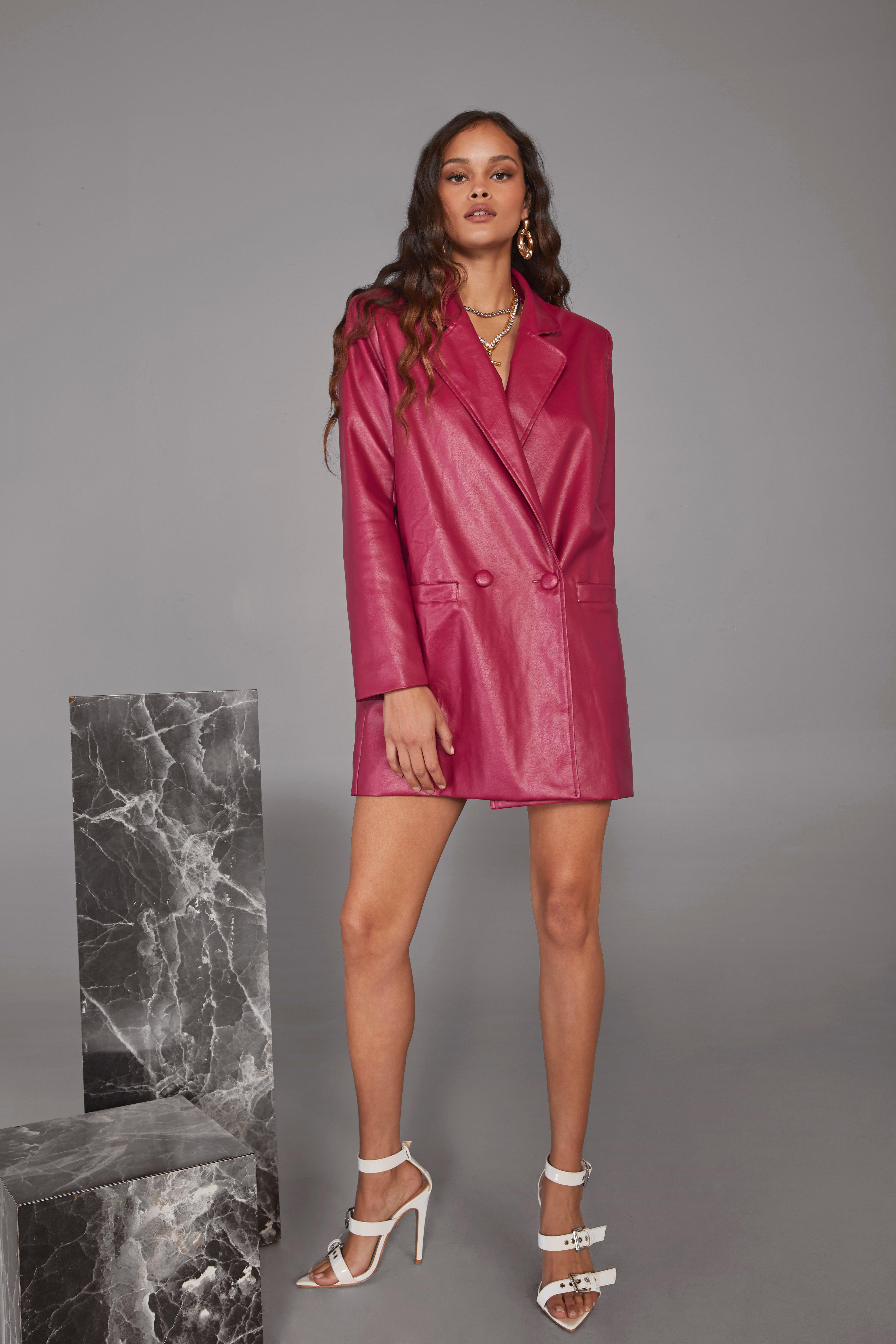Image of Atomic Faux Leather Blazer Dress