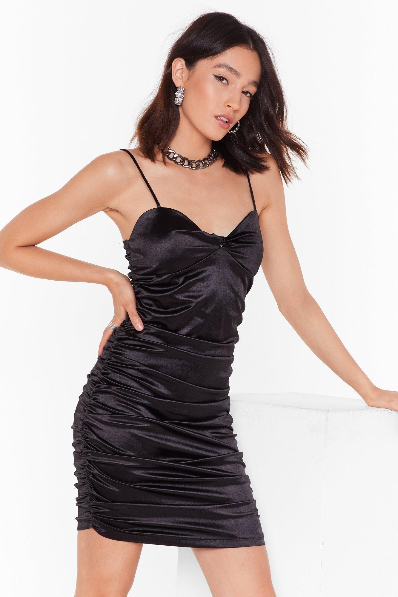 Image of Late Night Ruche Satin Mini Dress
