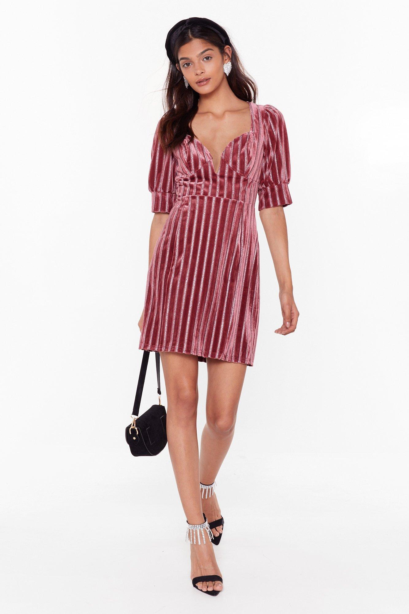 Image of Stripe This Way Velvet Glitter Mini Dress
