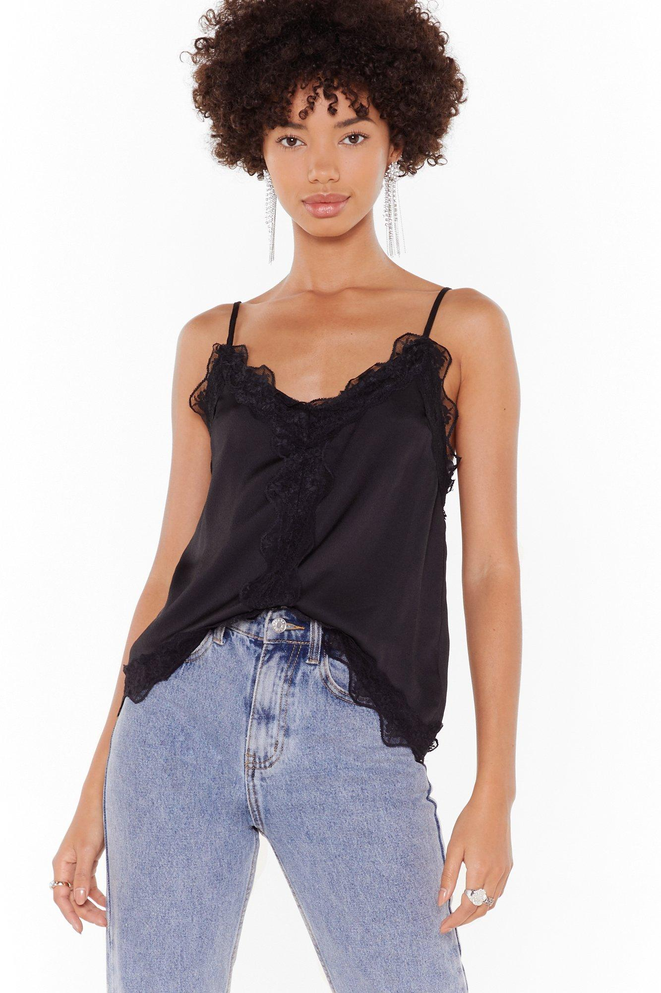 Image of The Lace I Belong Satin Cami Top