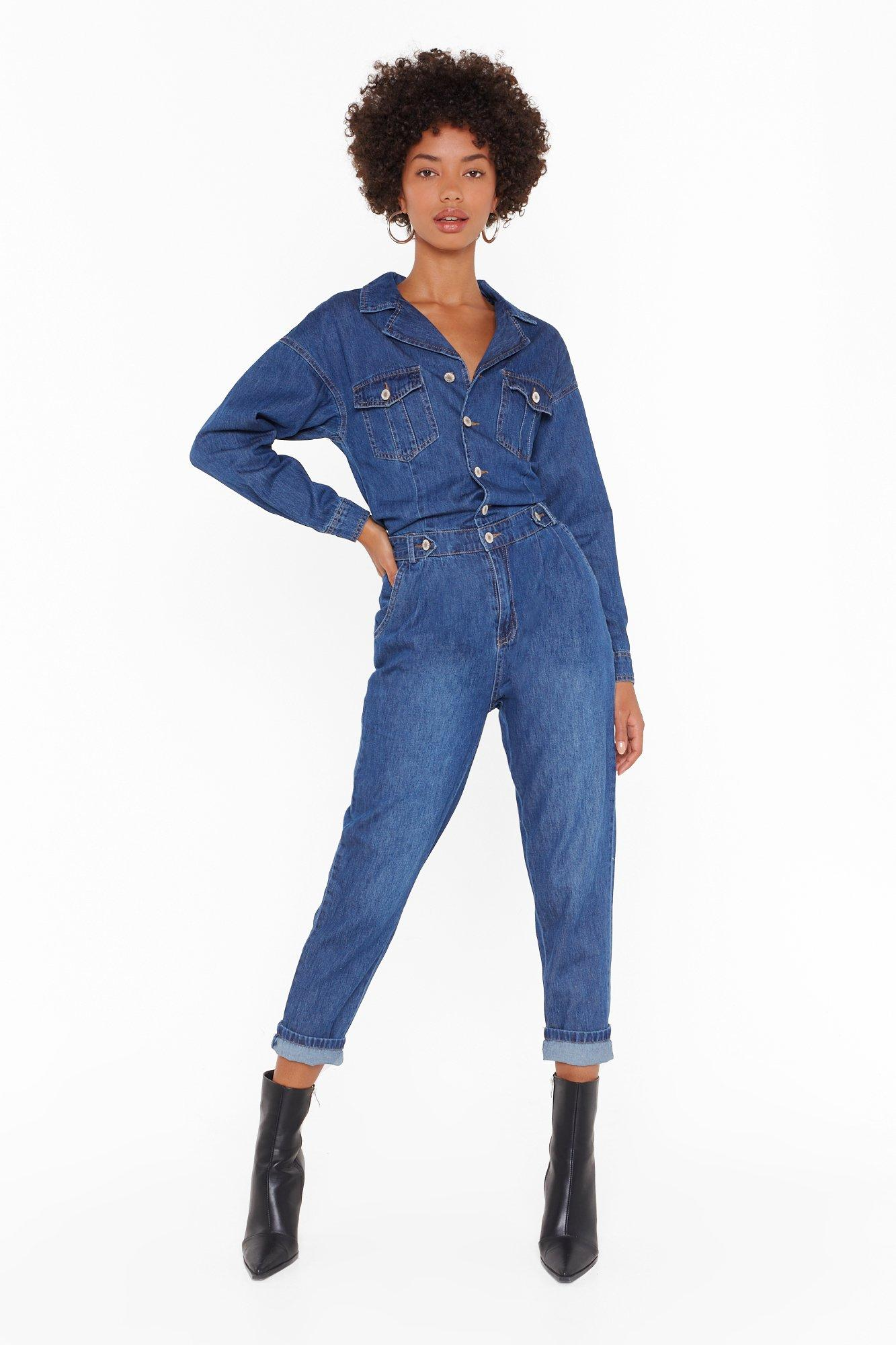 Image of Can't Hold Me Button-Down Denim Boilersuit