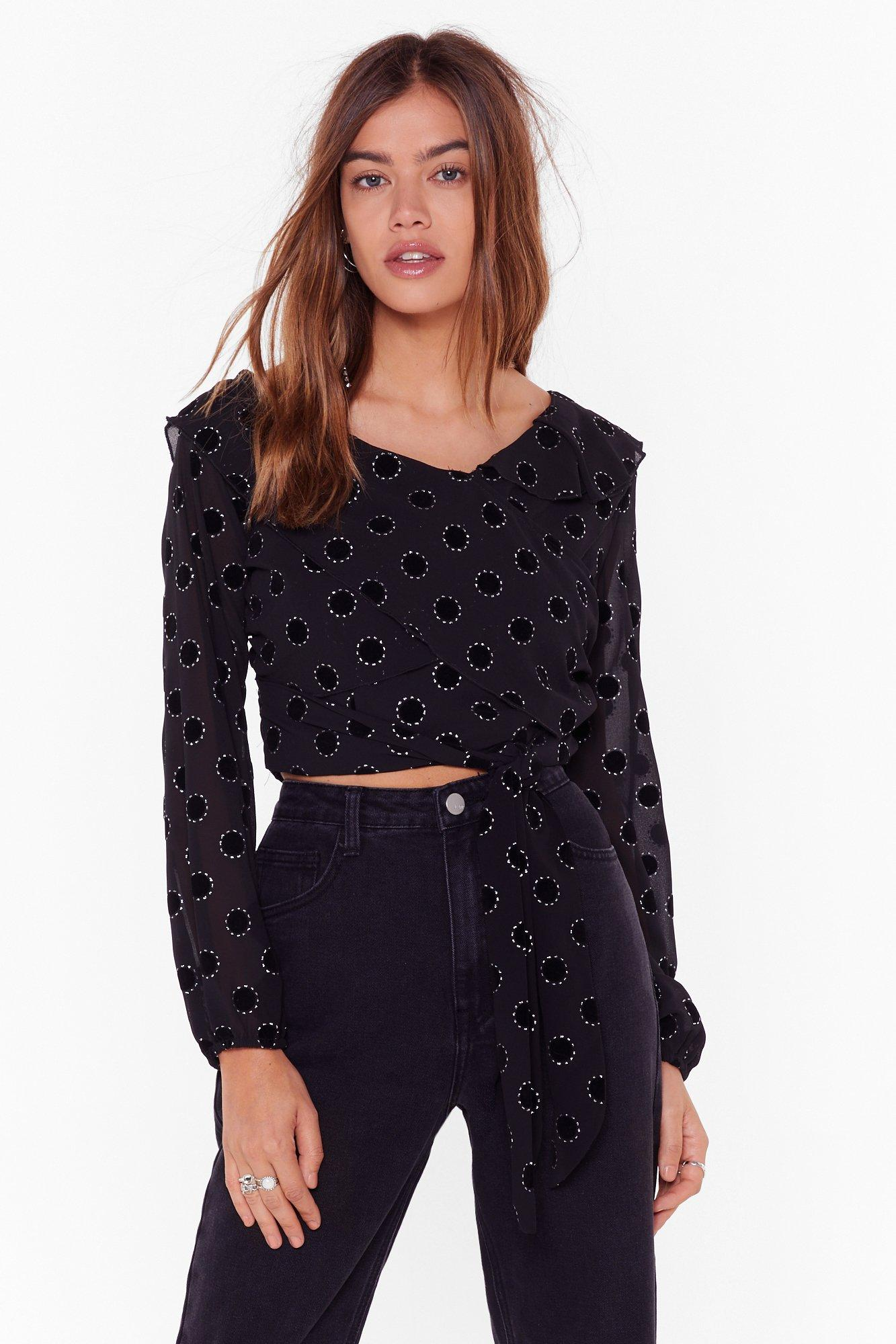 Image of Not Tonight Cropped Polka Dot Blouse