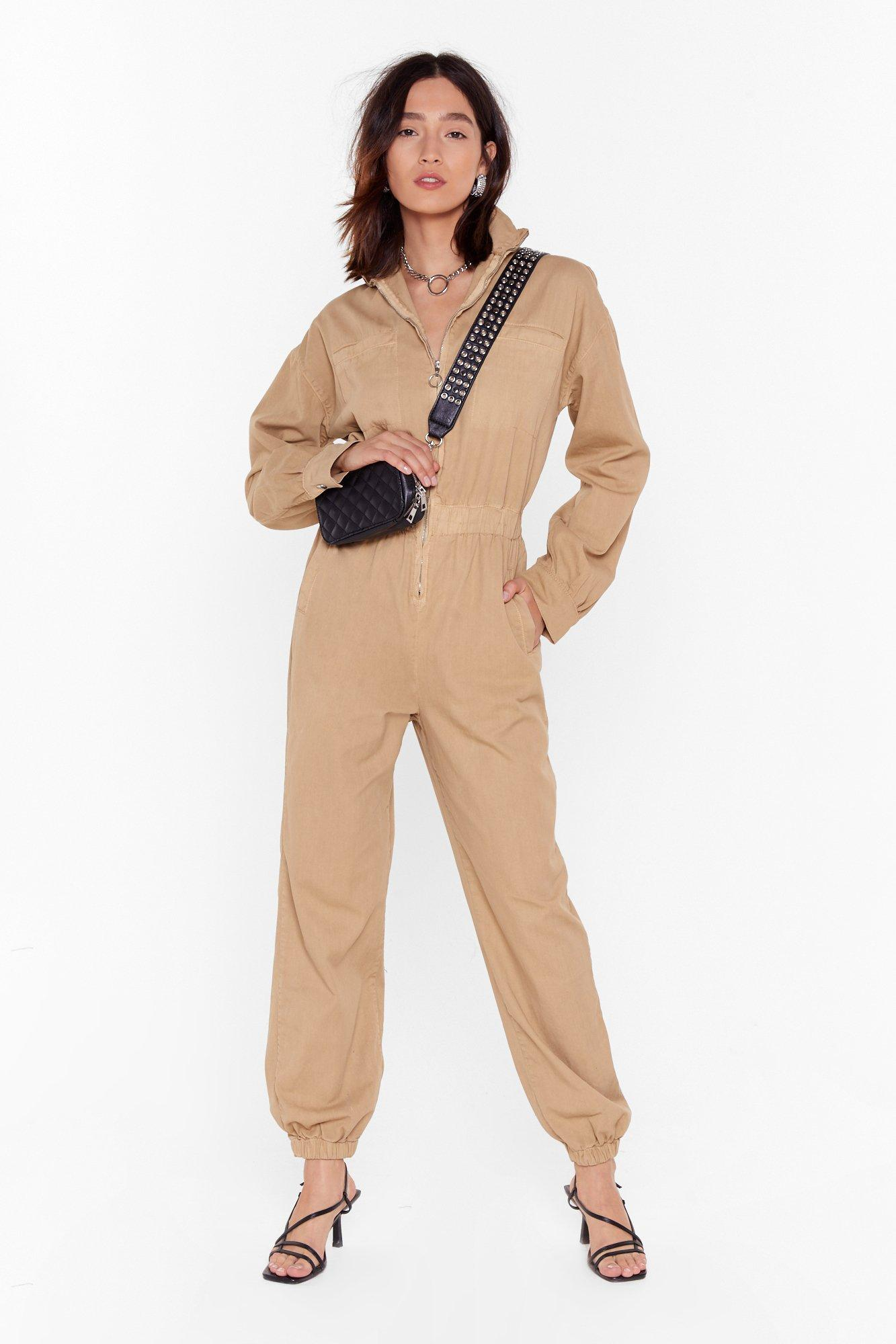 Image of Read Our Zips Relaxed Denim Boilersuit