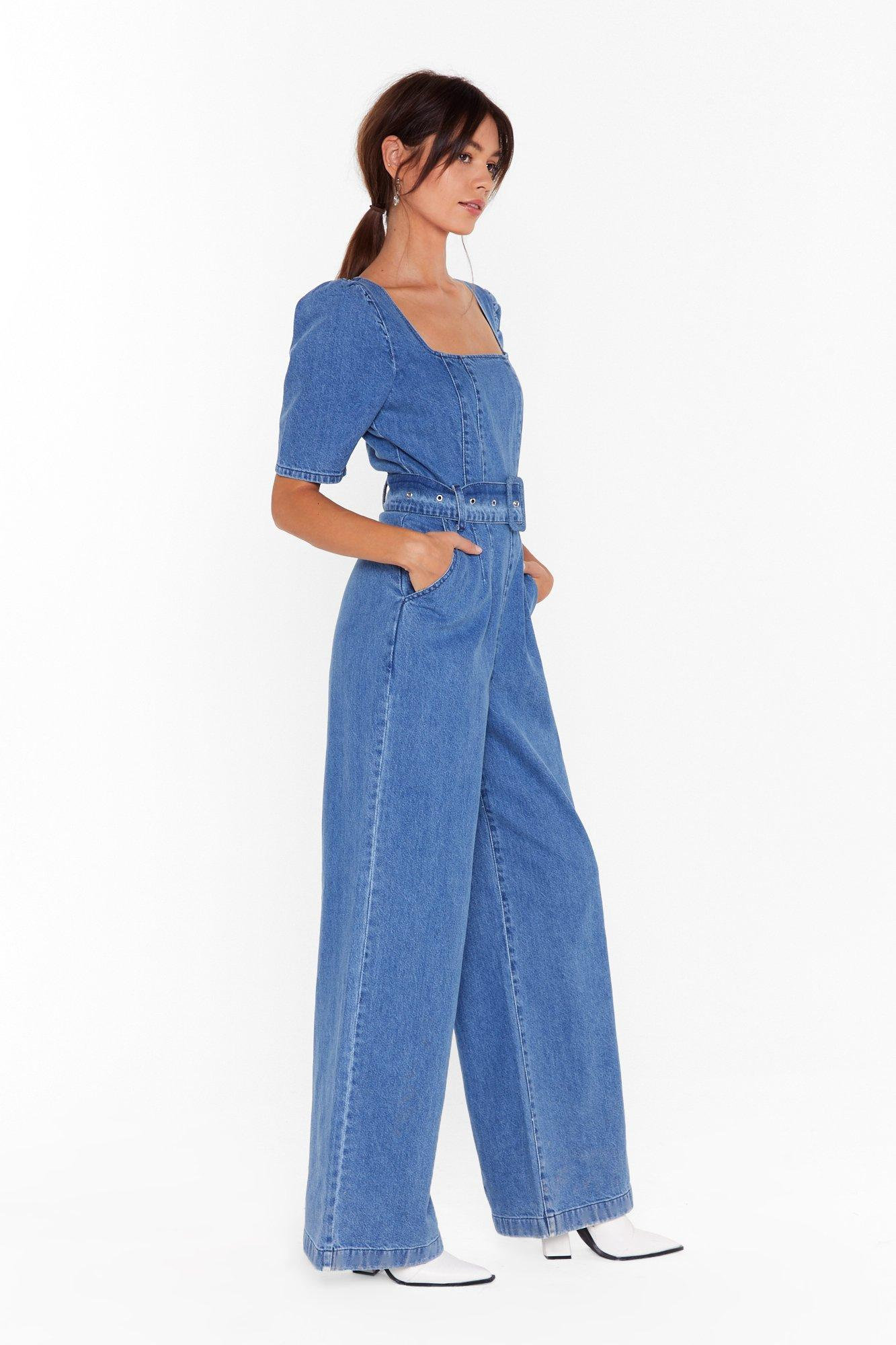 Image of Got Me Square You Want Me Denim Belted Boilersuit