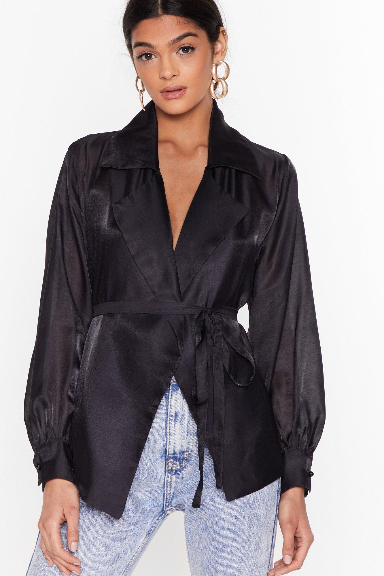 Image of You Belong Sheer Belted Wrap Blouse
