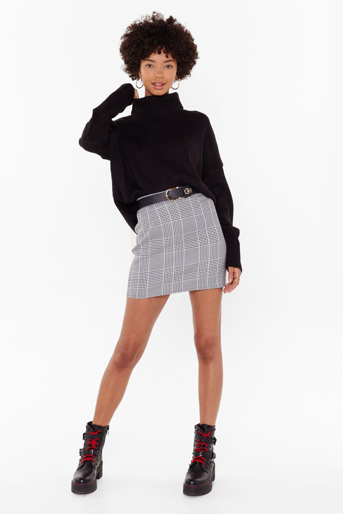 Image of Tell Me the Houndstooth High-Waisted Mini Skirt