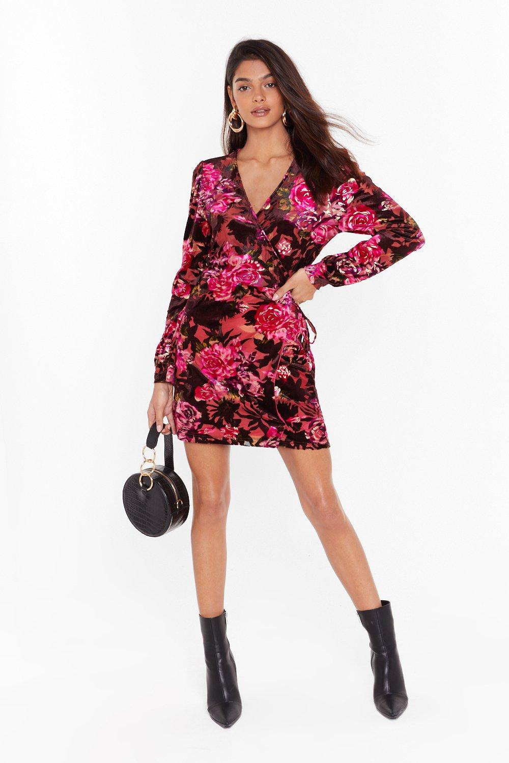 Image of I'll Grow With You Floral Velvet Dress