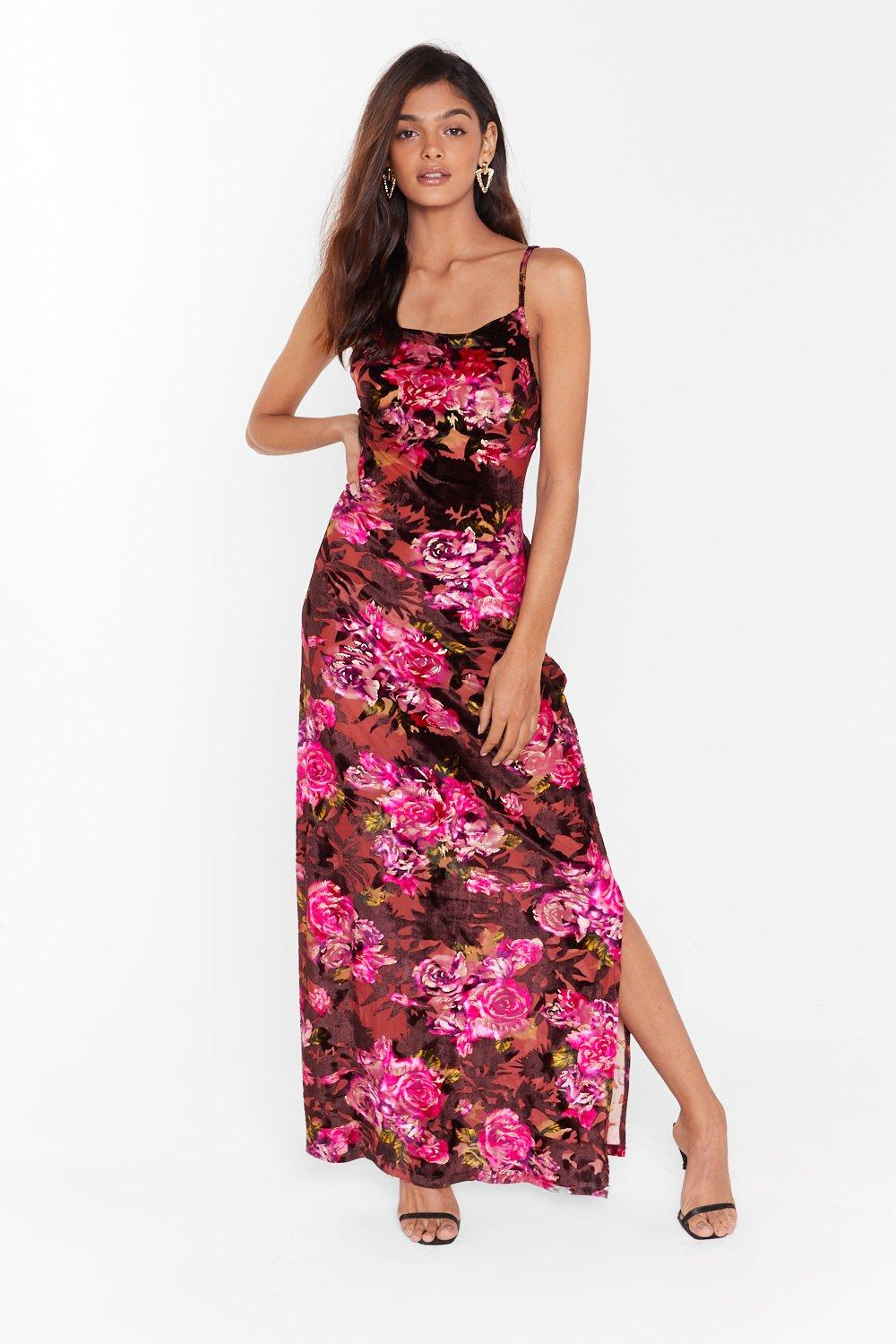 Image of I'll Grow With You Floral Velvet Maxi Dress