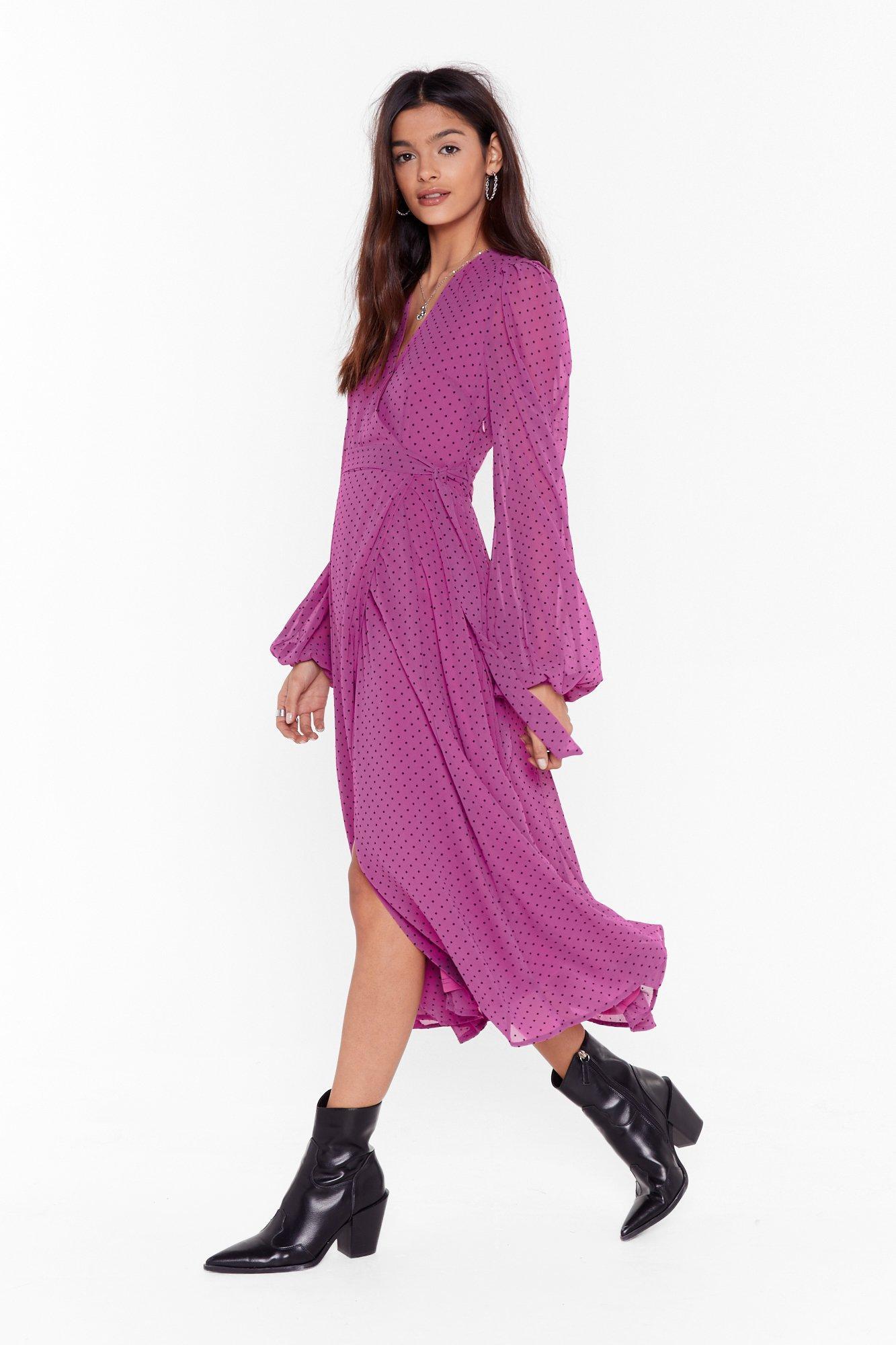 Image of It's Dot Our Fault Wrap Midi Dress