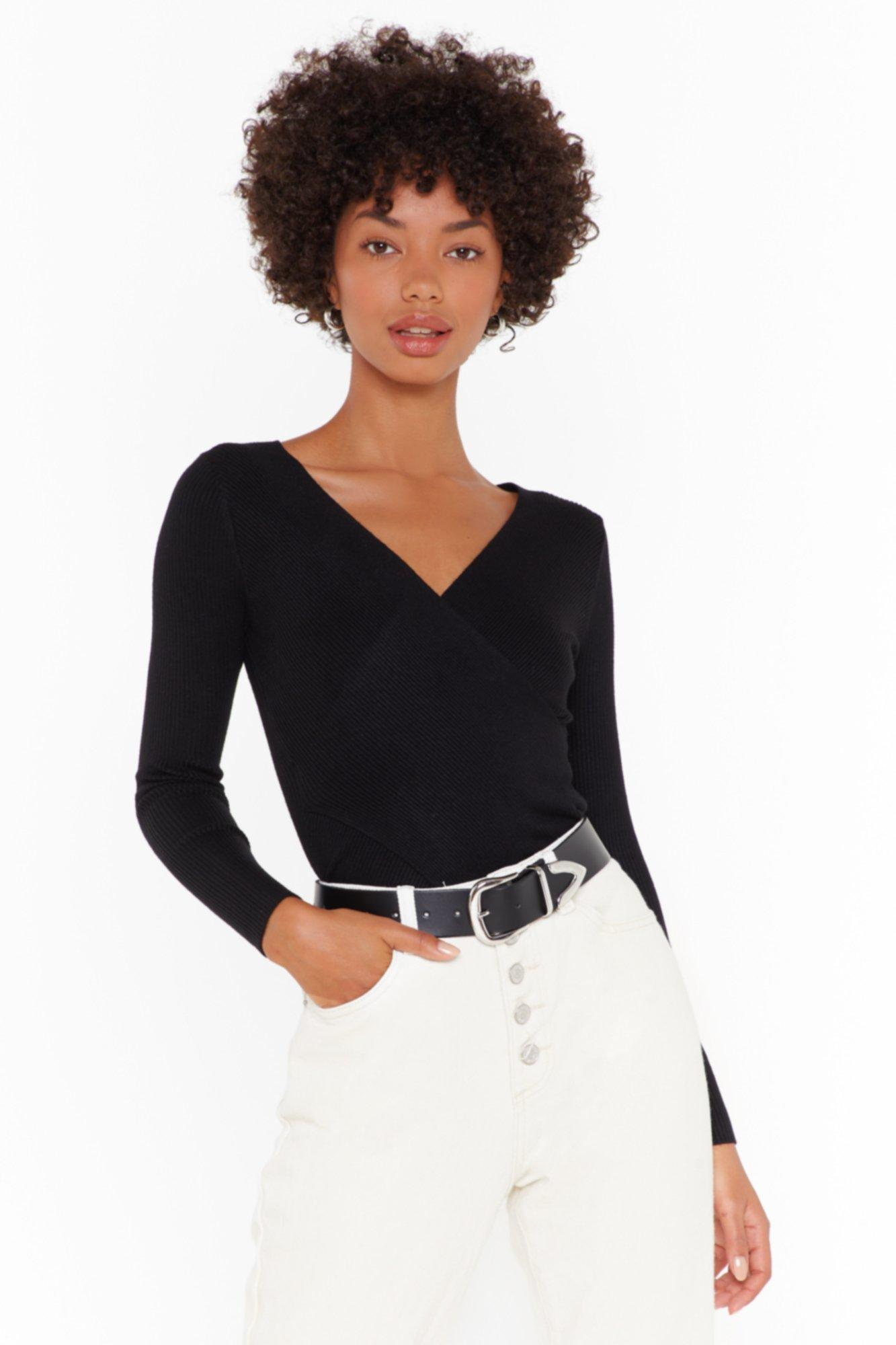 Image of Close the Wrap Ribbed Knit Top