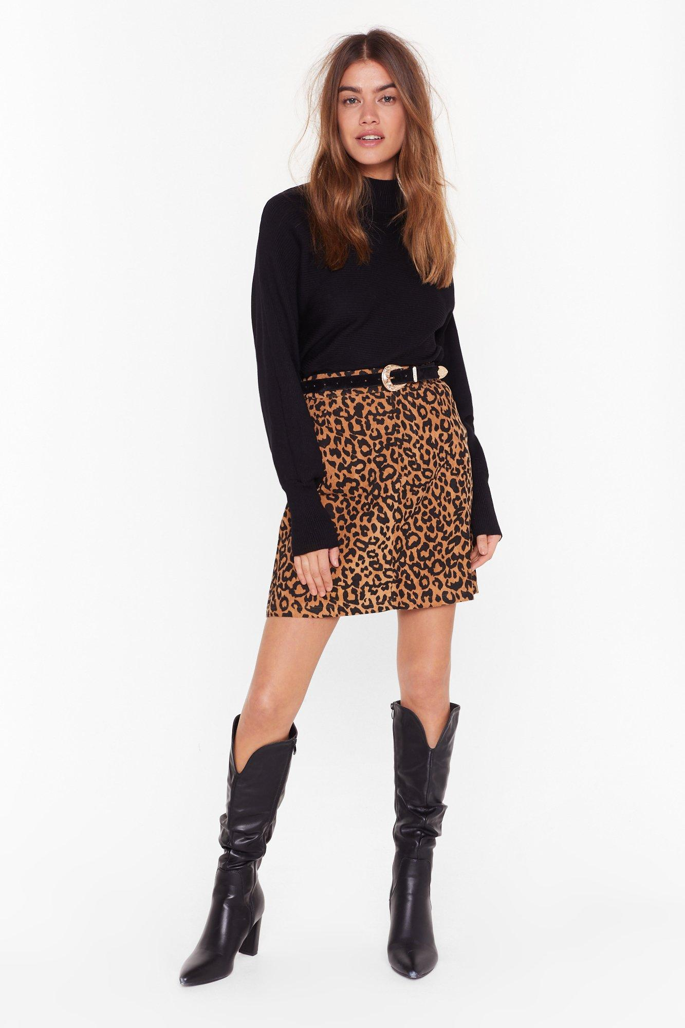 Image of cord leopard print mini skirt