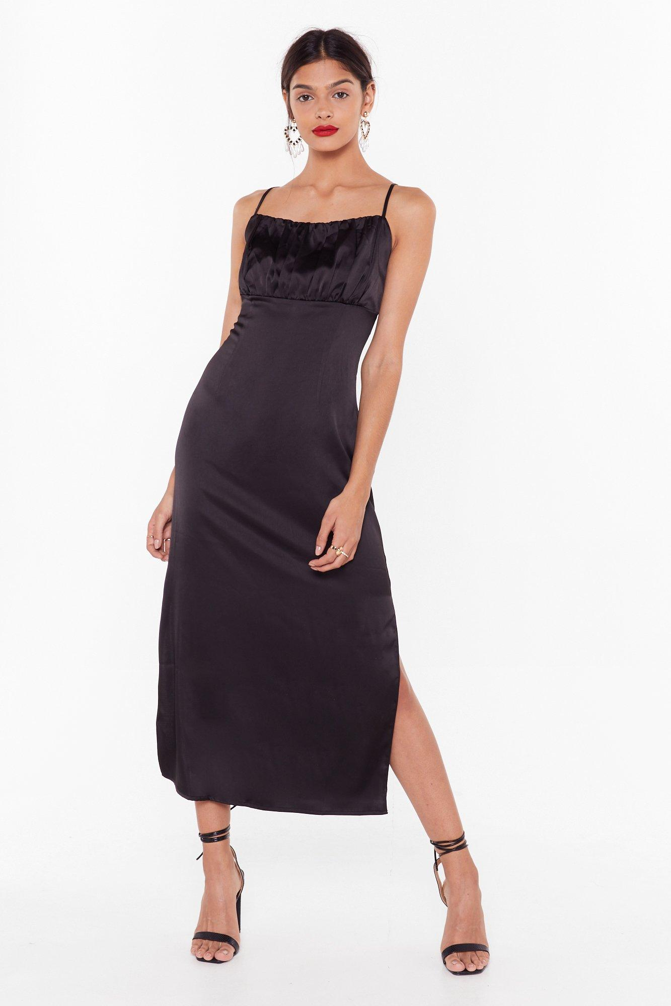 Image of Don't Ruche Into Things Satin Maxi Dress