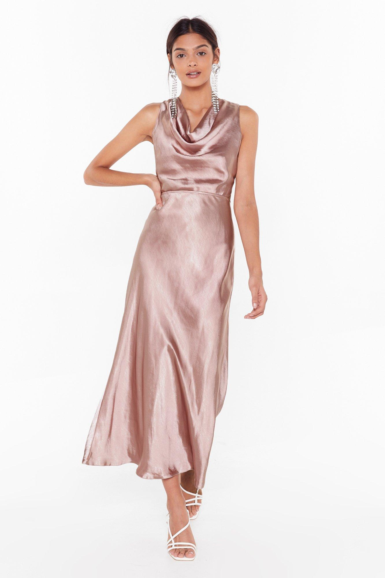 Image of Cut-Out to Party Satin Cowl Dress