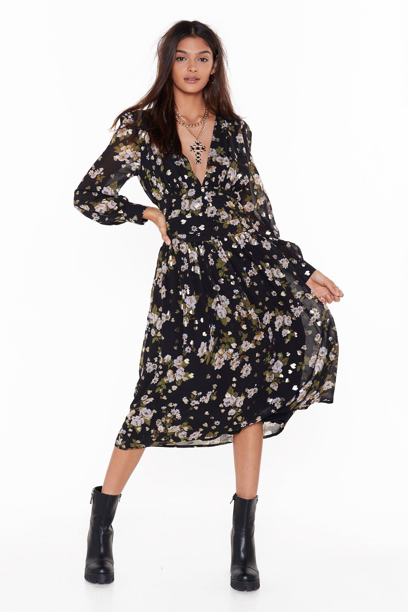 Image of What They Don't Grow Floral Midi Dress