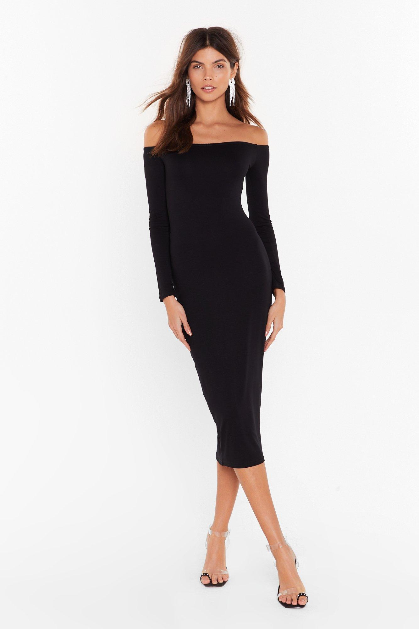 Image of Hold Me Tight Off-the-Shoulder Midi Dress