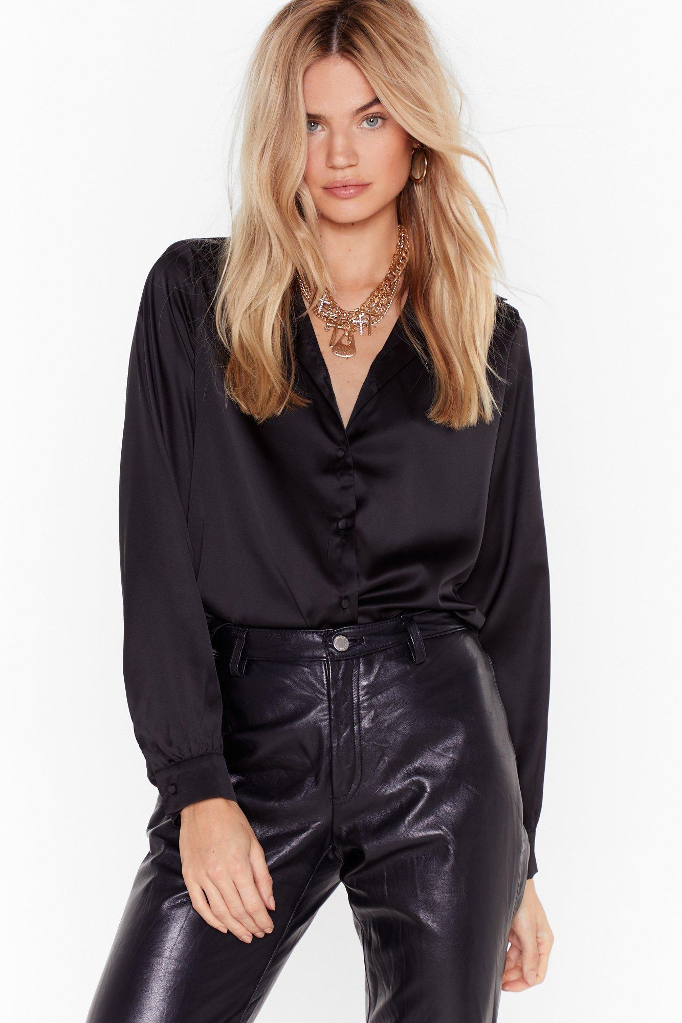 Image of Bow With Your Gut Satin Cut-Out Shirt