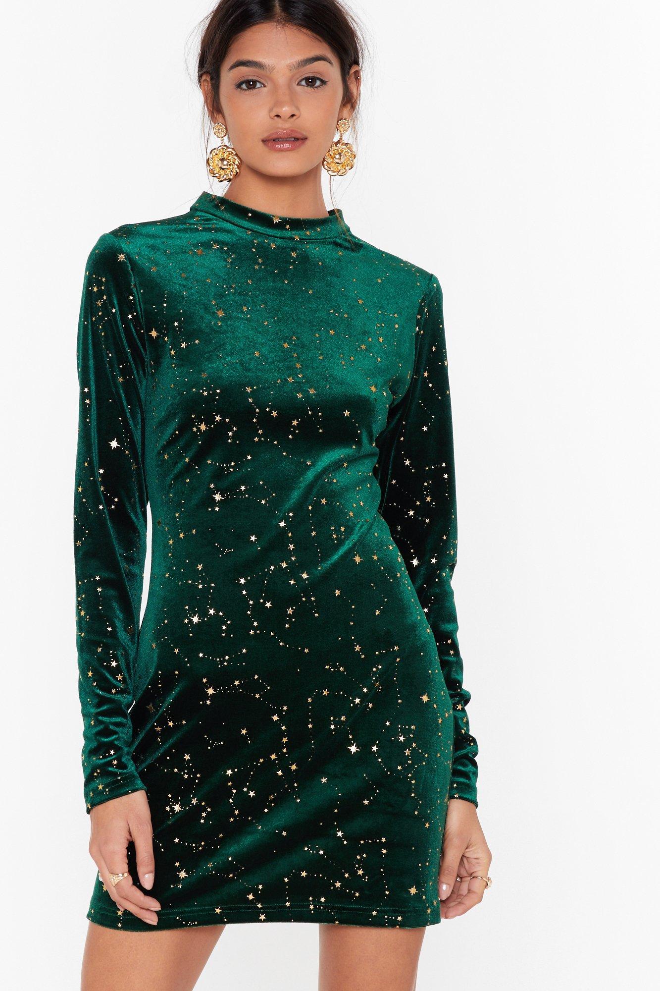 Image of Make a Wish Velvet Star Mini Dress