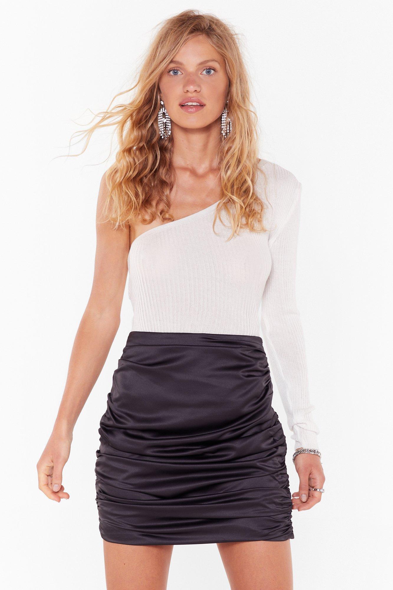 Image of Never Ruche Satin Mini Skirt
