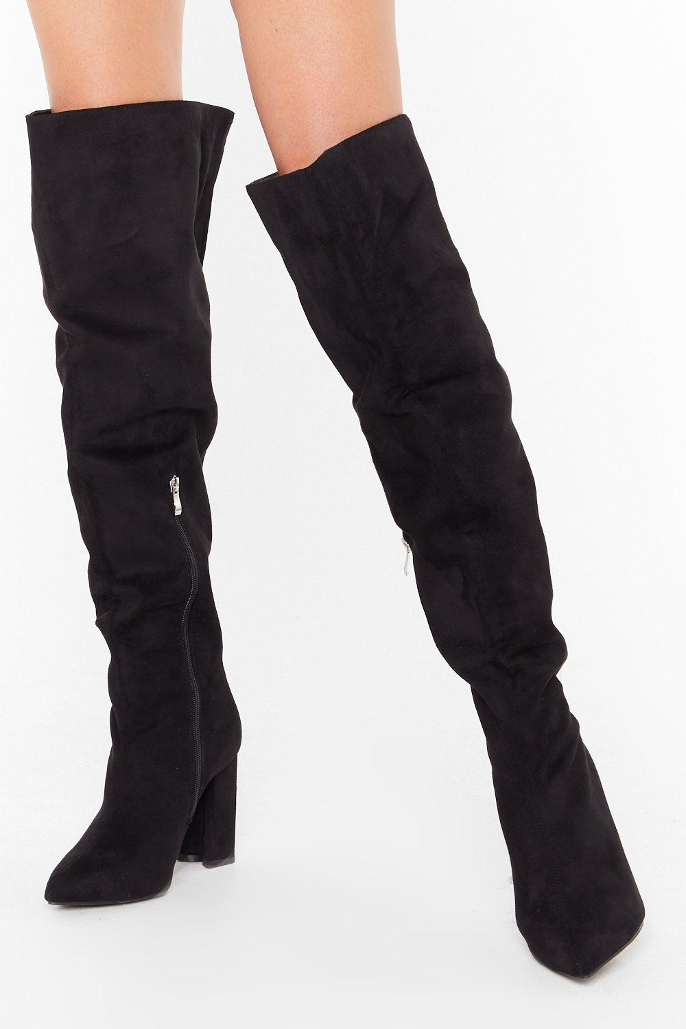 Image of Looks Like We Faux Suede It Wide Fit Boots