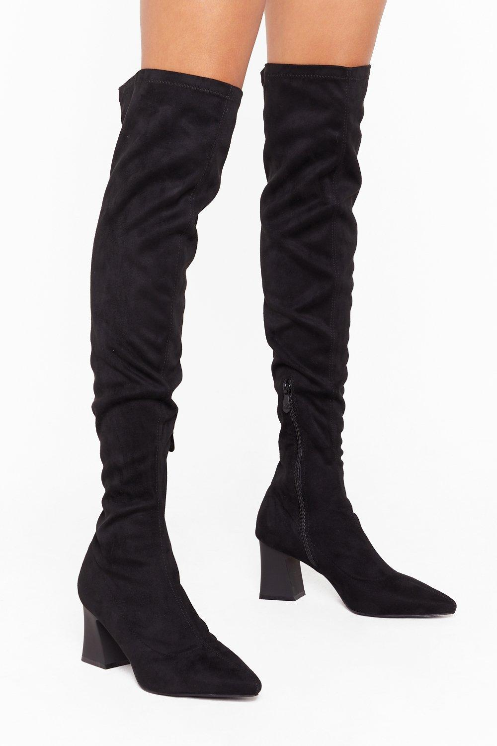 Image of This Ain't Over-the Knee Faux Suede Boots
