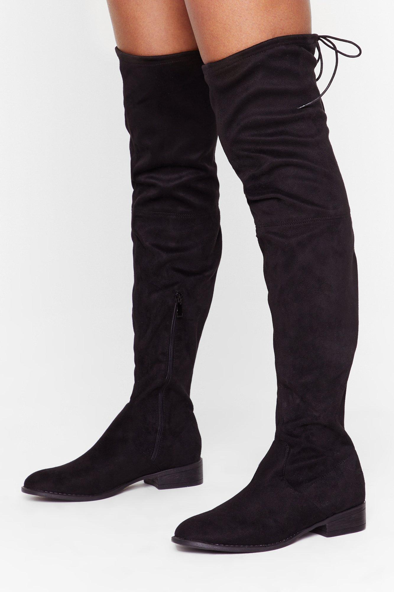 Image of Flatter Me Faux Suede Over-the-Knee Boots