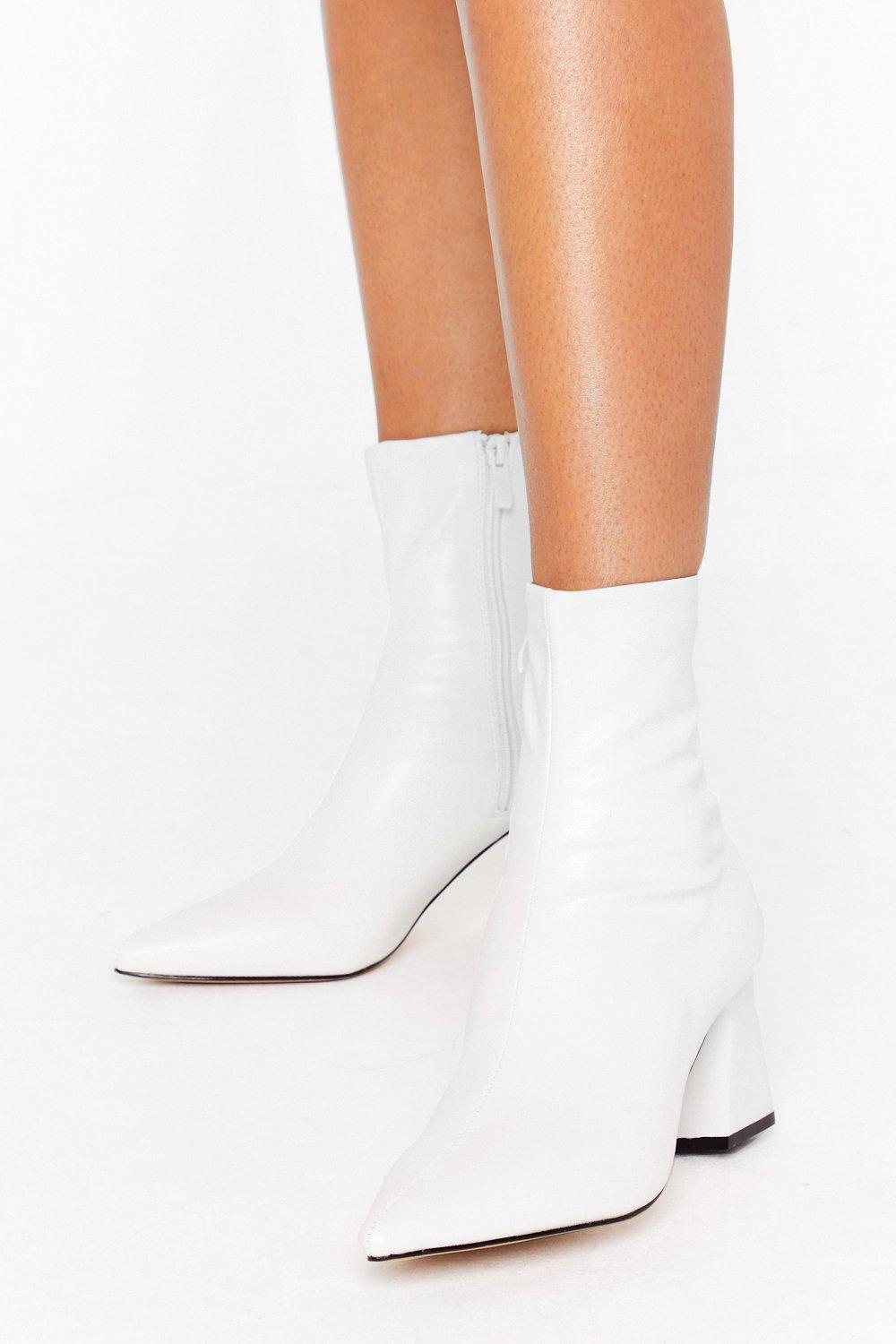 Image of Heel Talk Faux Leather Sock Boots