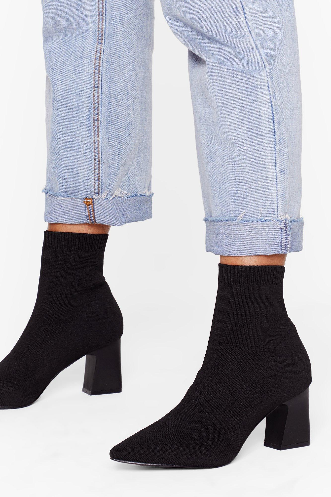 Image of Sock It to 'Em Knitted Block Heel Boots