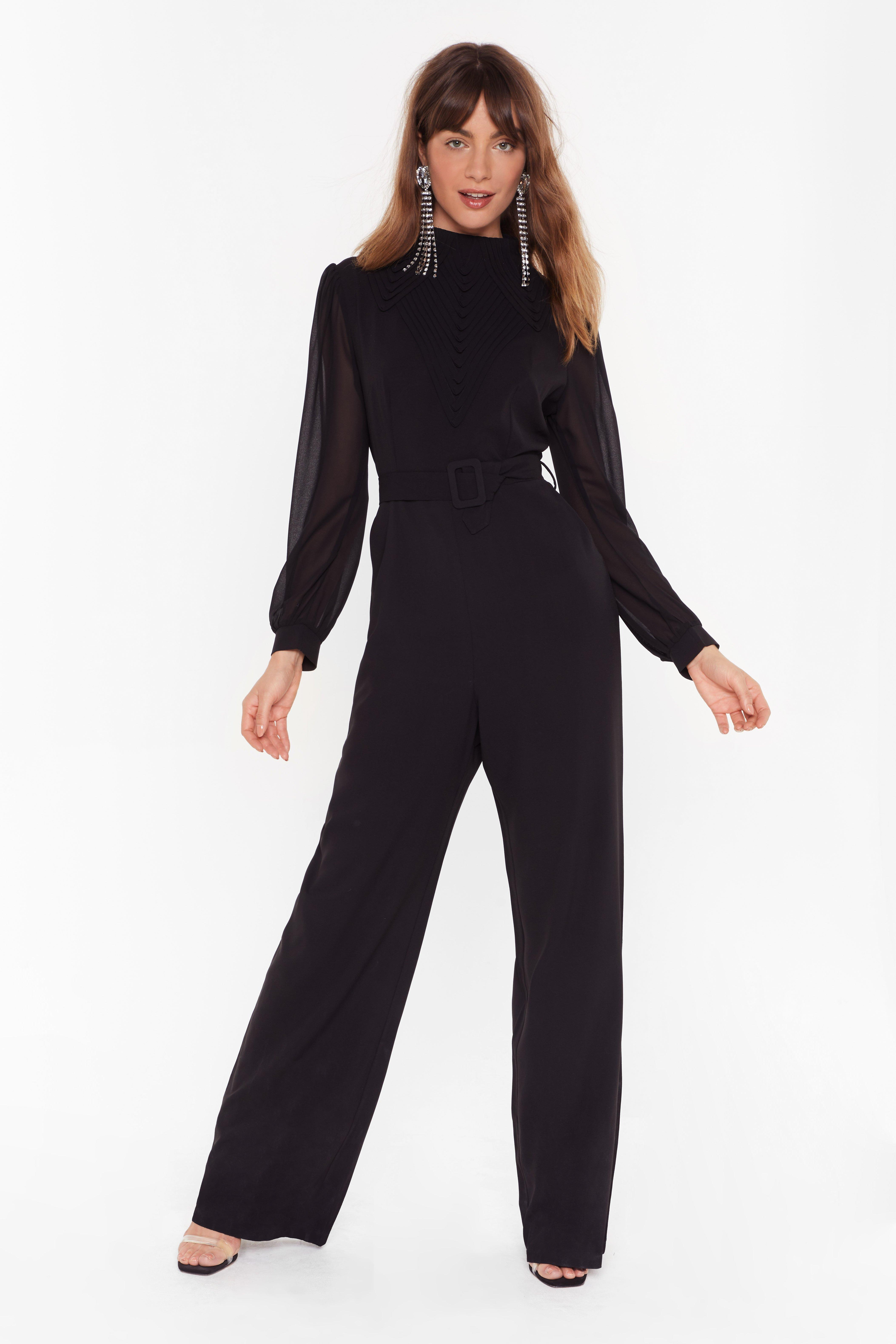Image of You Should Be Dancing High Neck Belted Jumpsuit