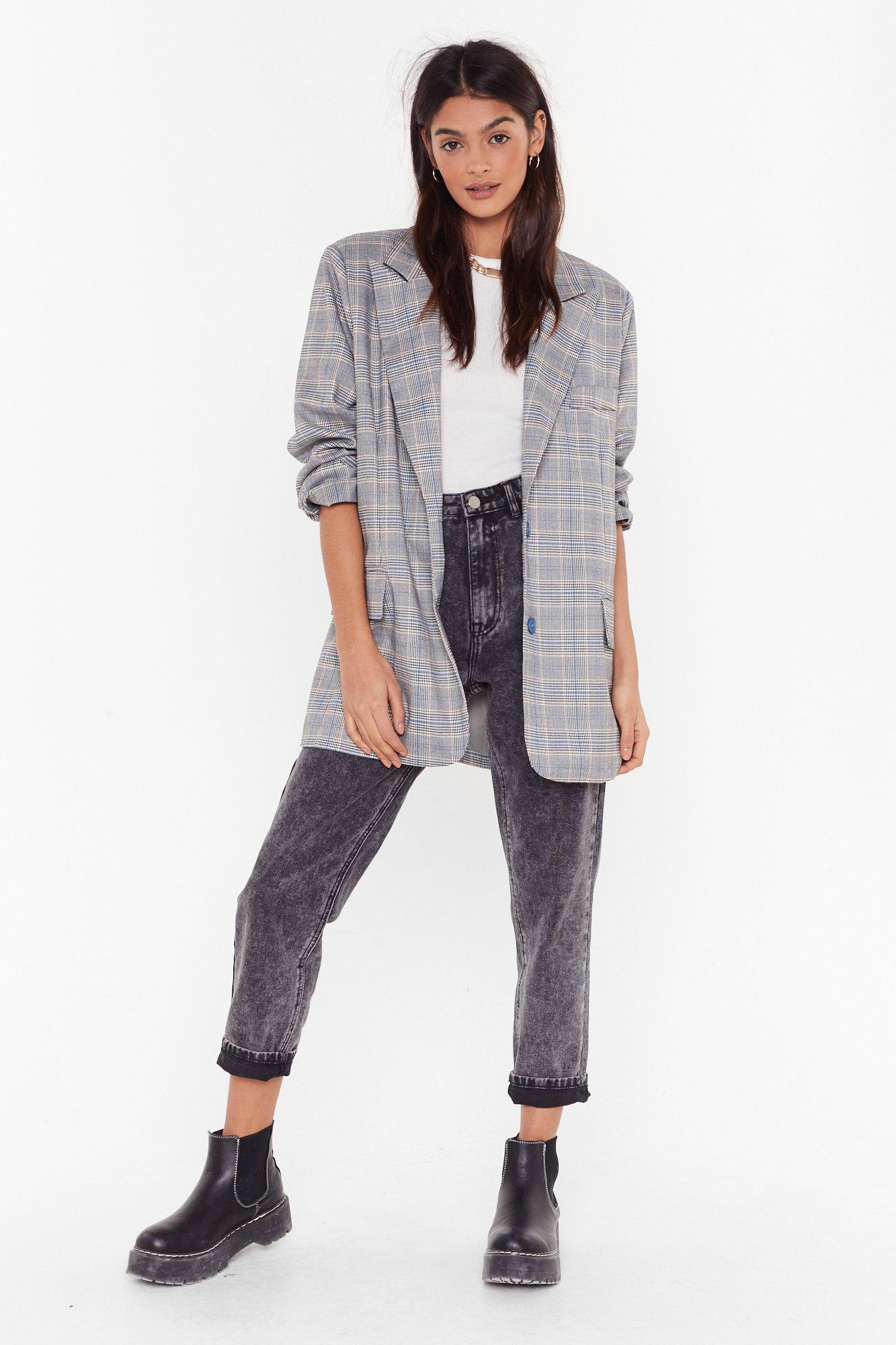 Image of Check With Me First Longline Blazer