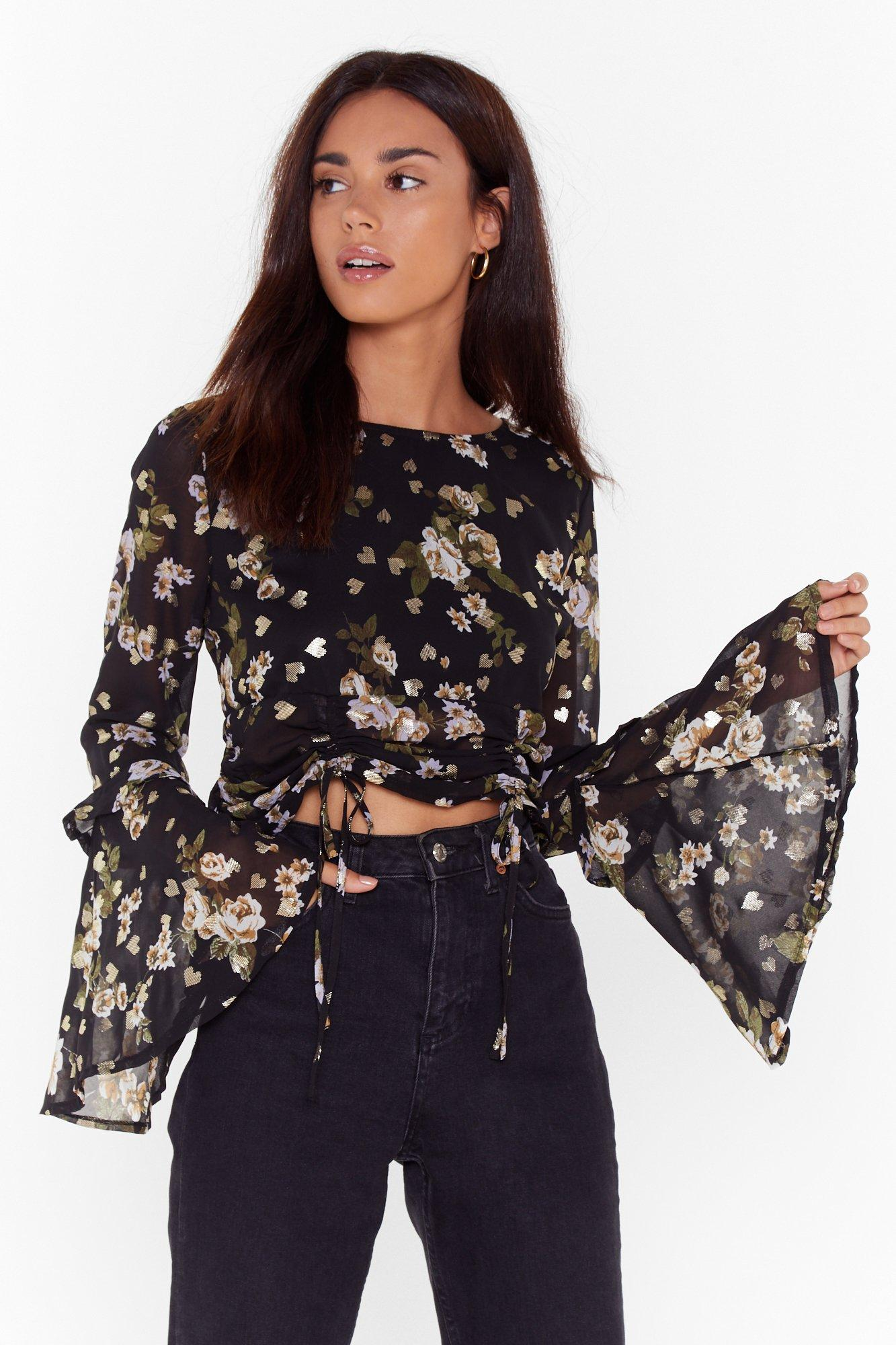 Image of Grow Me Off Floral Ruched Blouse