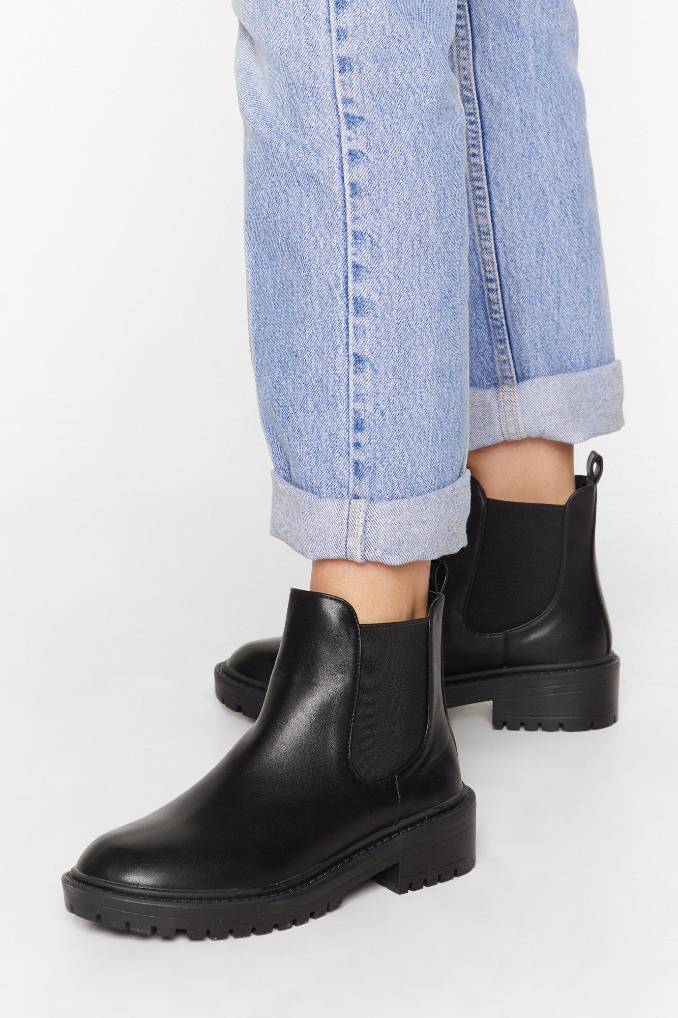 Image of Keepin' It Low-Key Faux Leather Cleated Boots