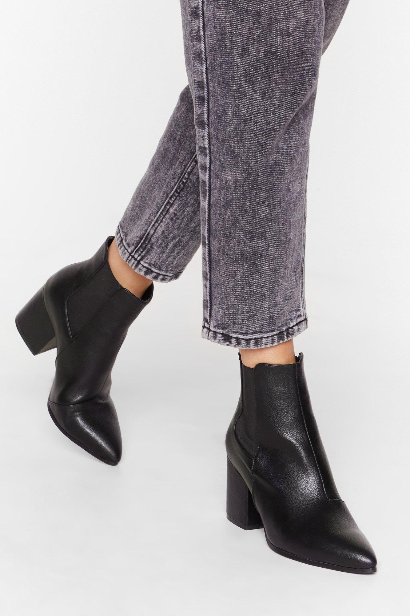 Image of No Point Arguing Faux Leather Heeled Boots