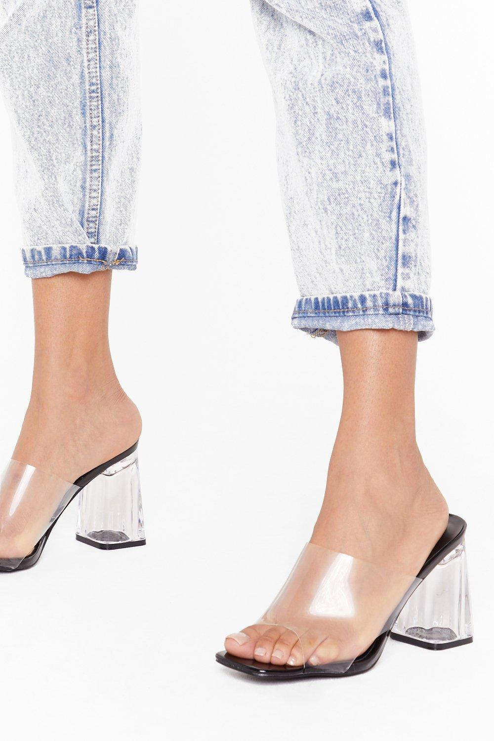 Image of Nothing to Hide Clear Block Heel Mules