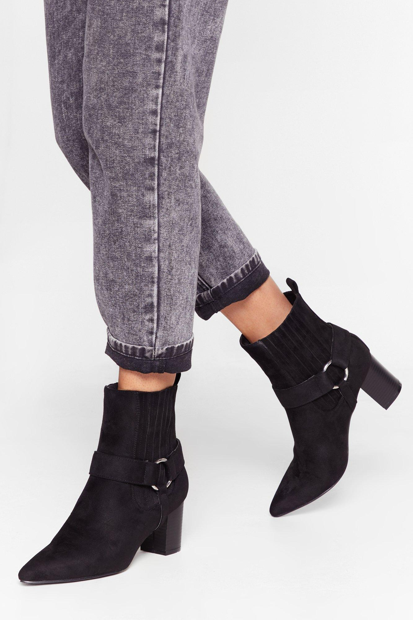 Image of What O-rings You Here Faux Suede Heeled Boots