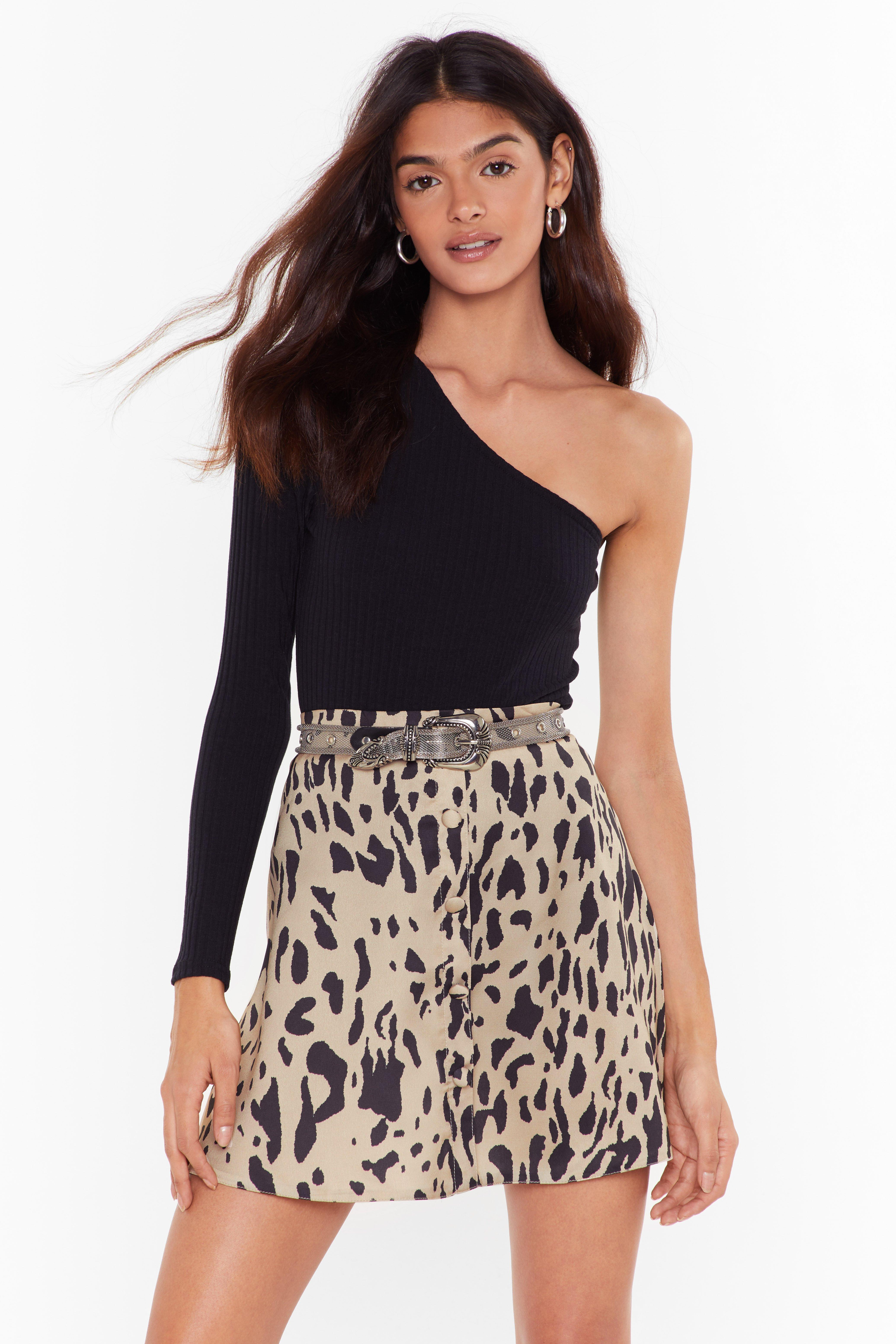Image of Keep Me Wild Leopard Satin Mini Skirt