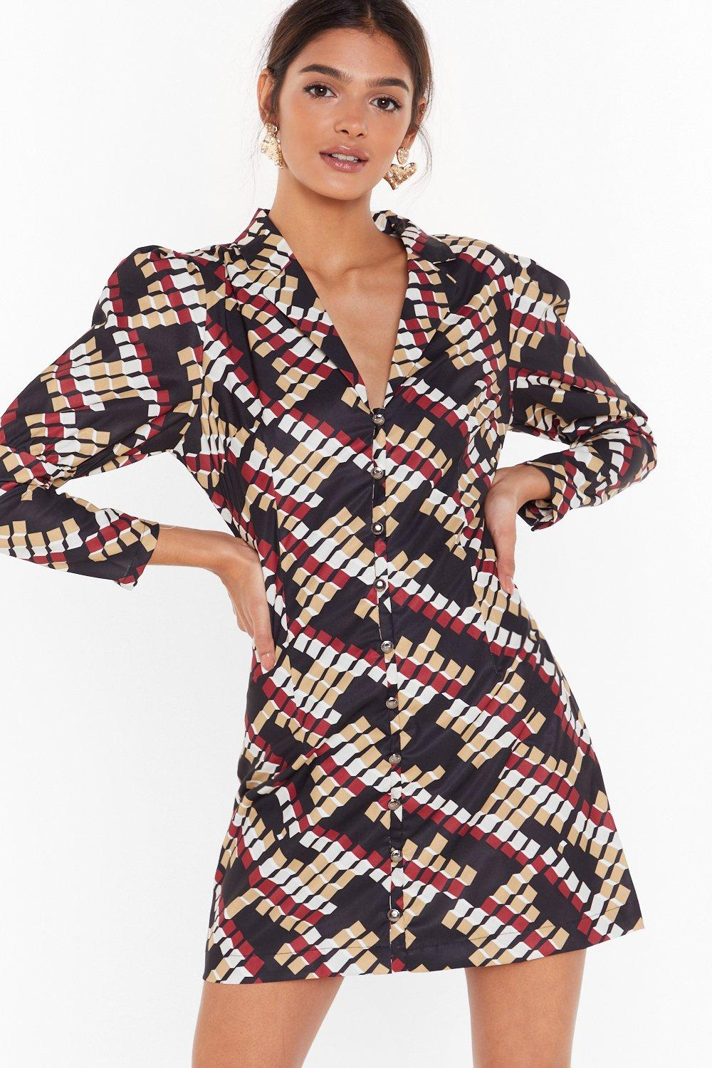 Image of It's Going Button-Down Geo Mini Dress