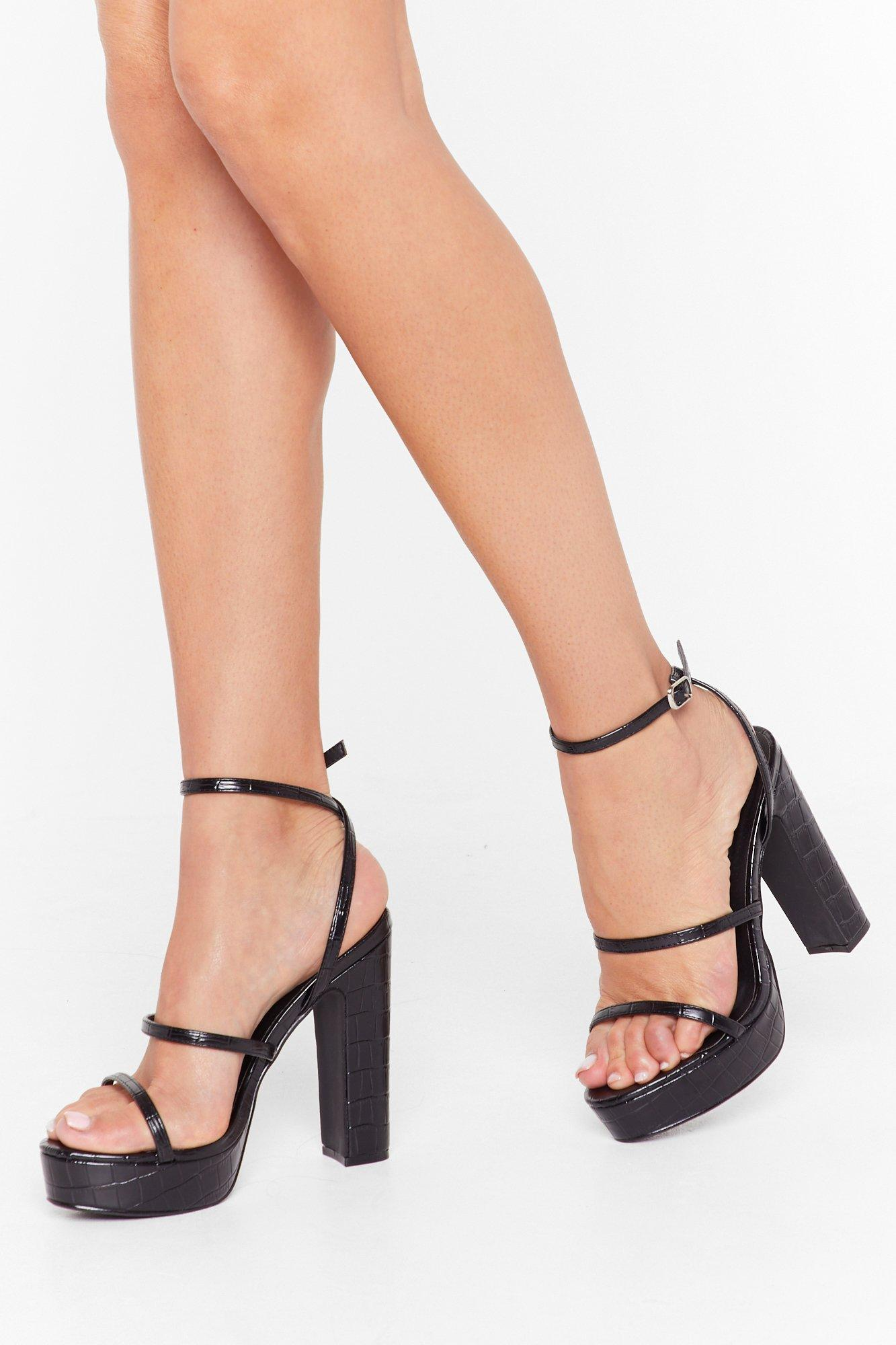 Image of Croc You Down Strappy Platform Heels