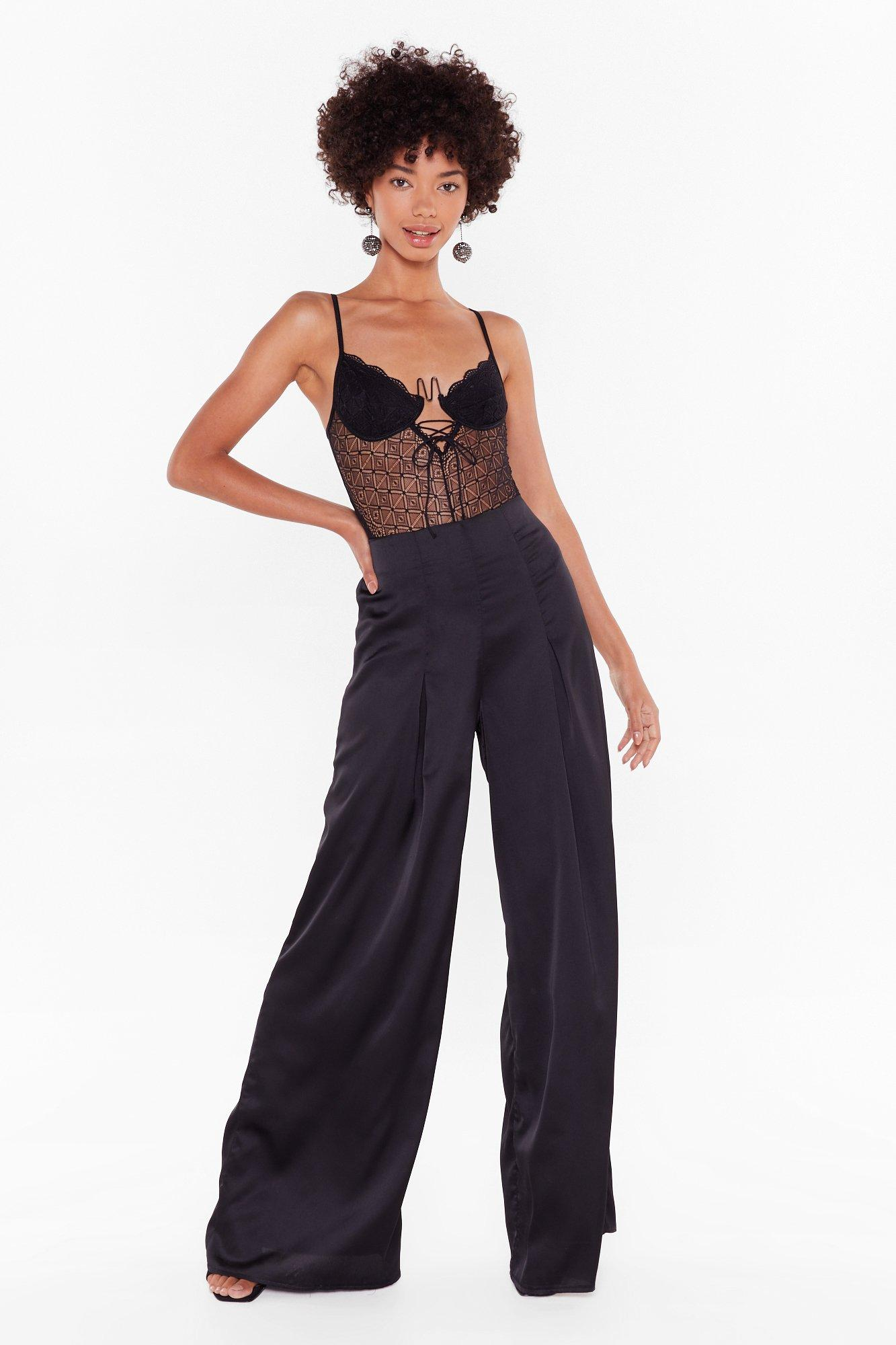 Image of Sleek From Your Heart Satin Wide-Leg Pants