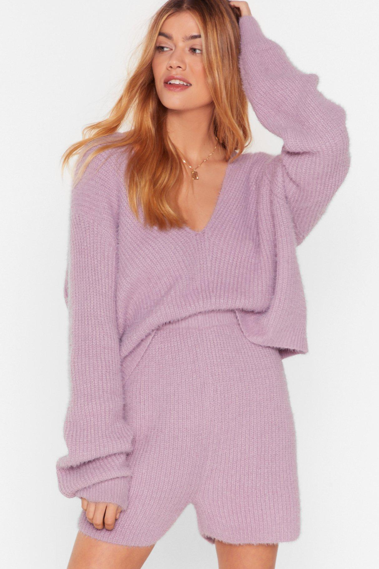 Image of Knit's a No From Us Cropped Shorts Set