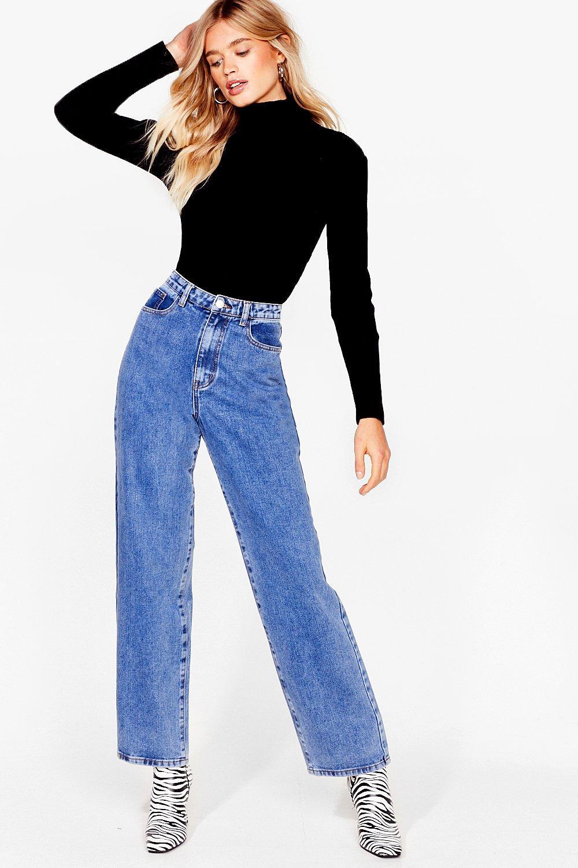 Image of Womens Dru Long Wide-Leg Jeans - Vintage Blue