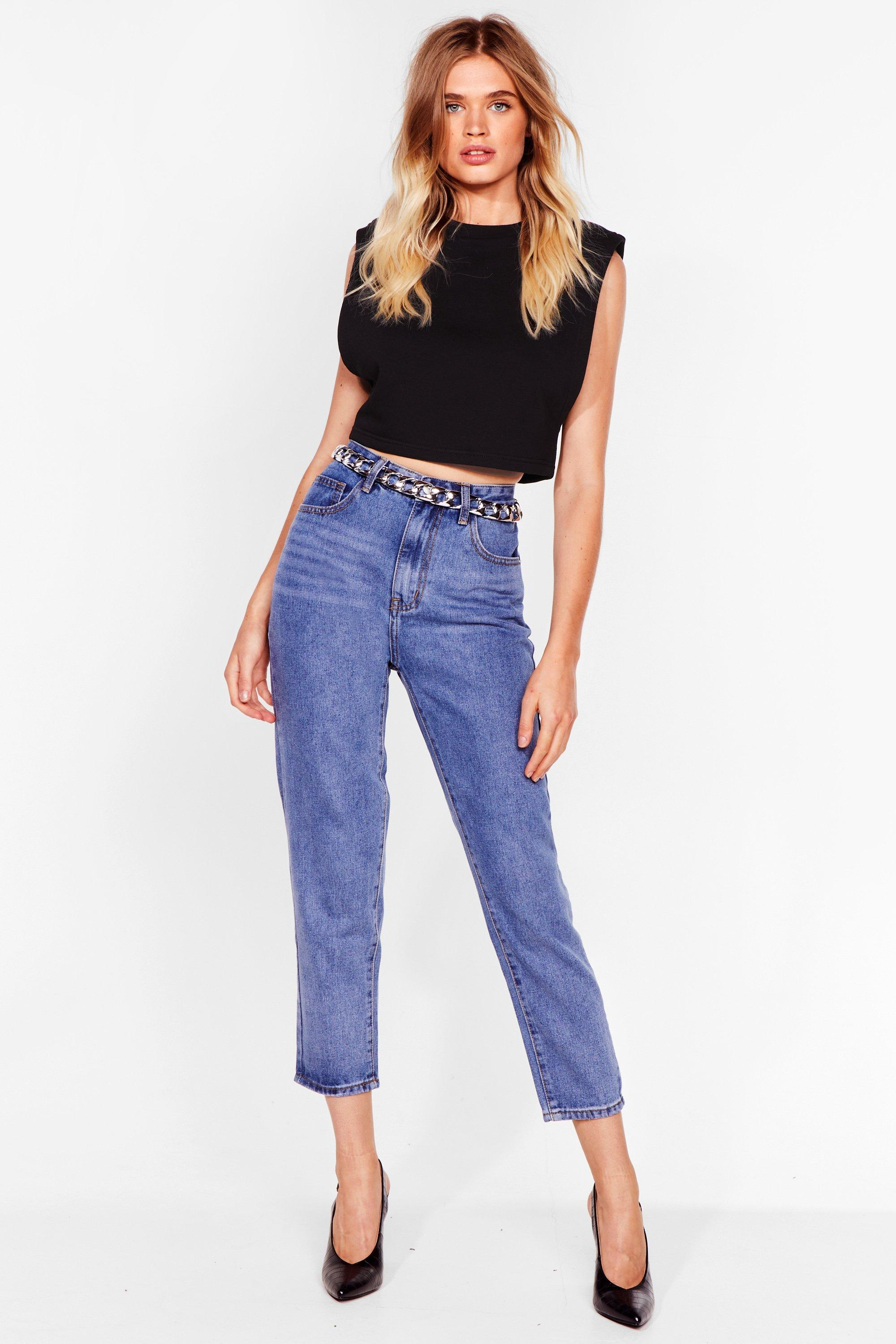 Image of Debbie High-Waisted Short Mom Jeans