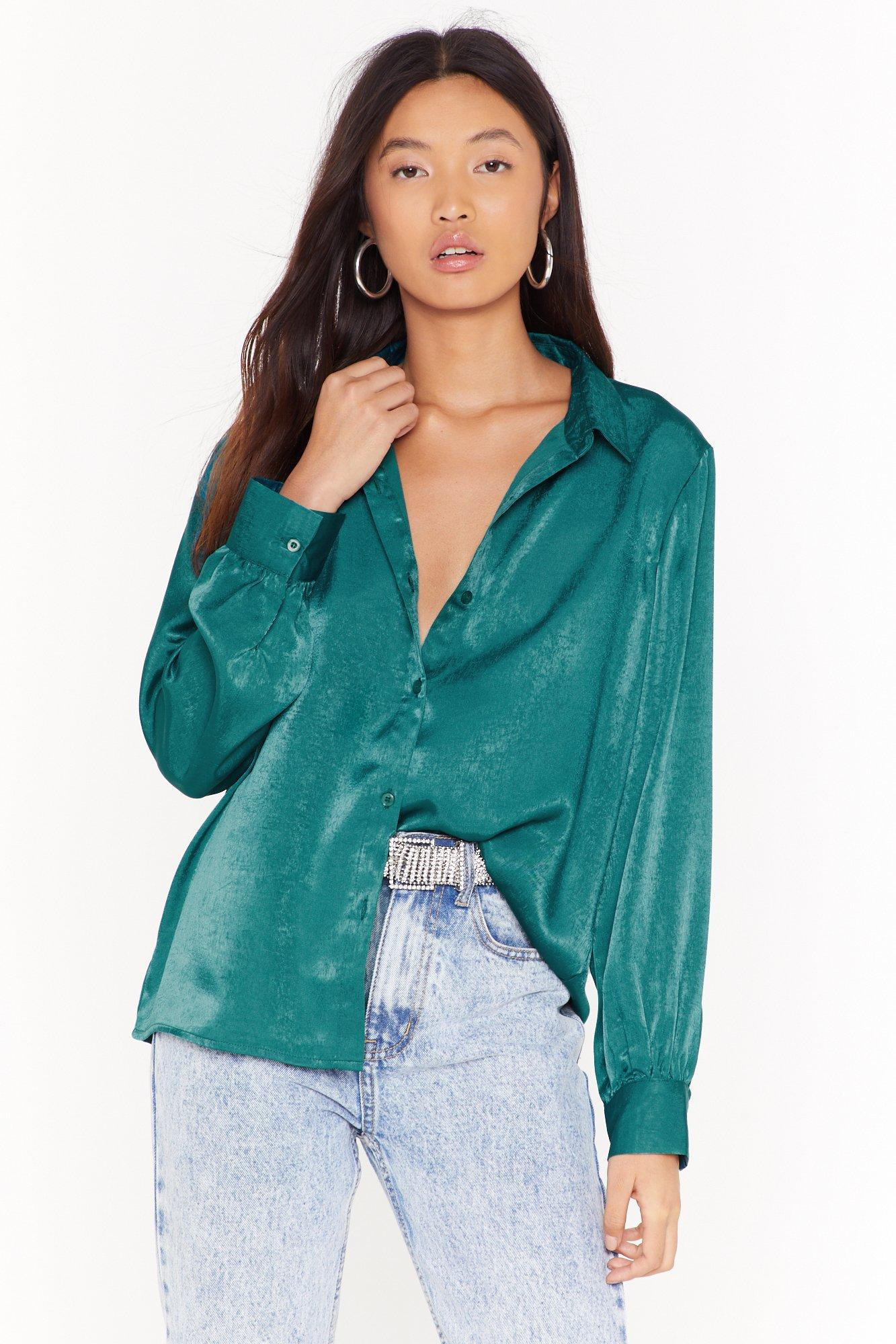 Image of Are You in Brush Satin Oversized Shirt