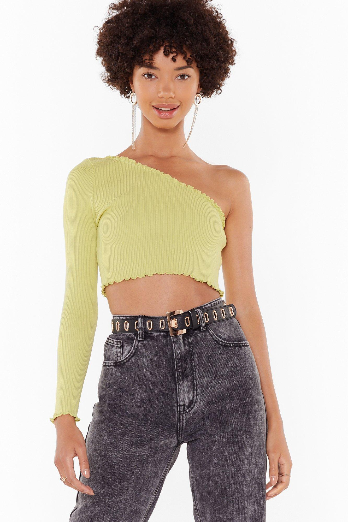 Image of One Shoulder's All It Takes Crop Top