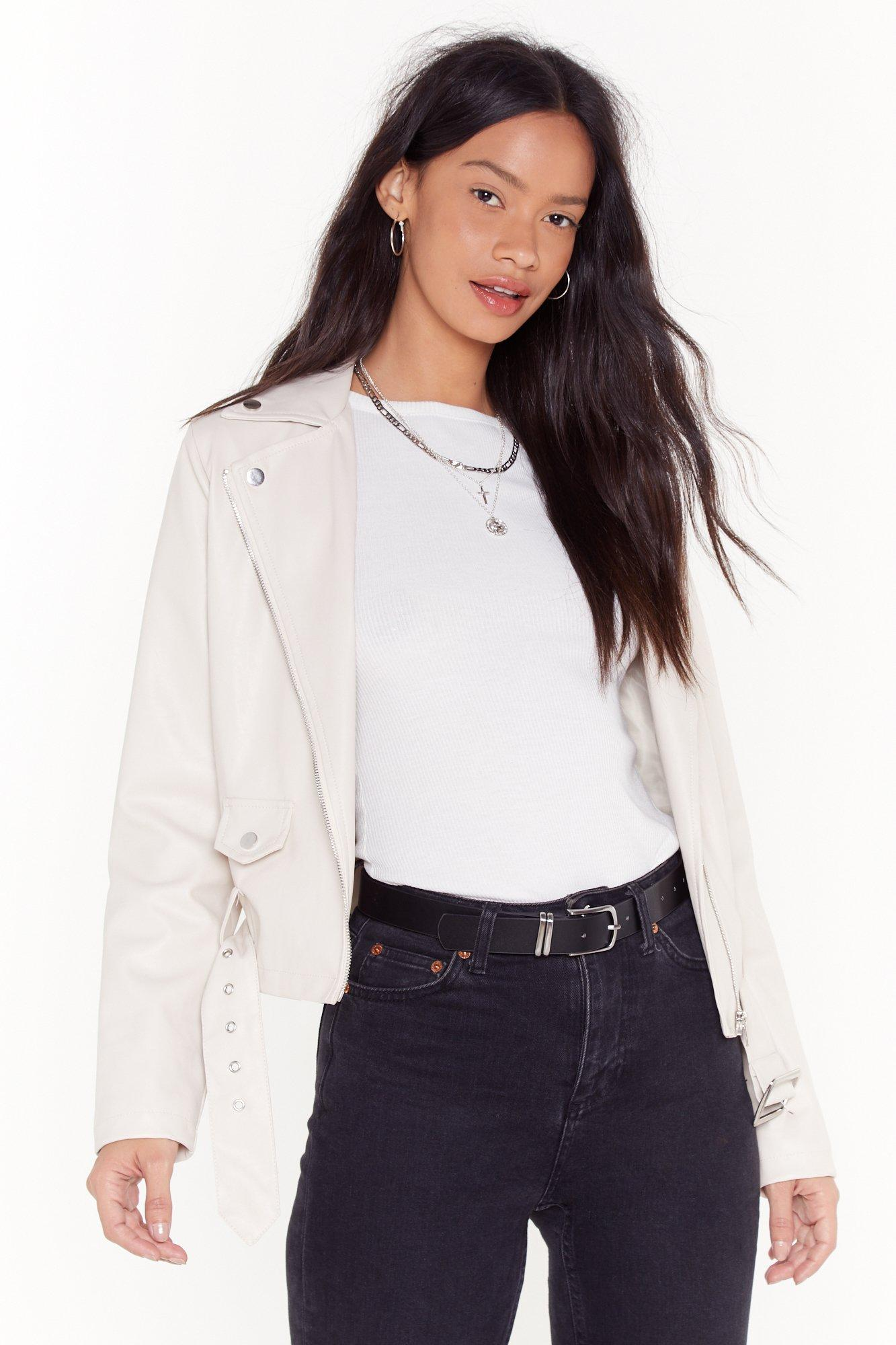 Image of It's Now Or Faux Leather Cropped Moto Jacket
